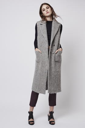 Topshop Textured Wool Blend Sleeveless Coat in Gray | Lyst