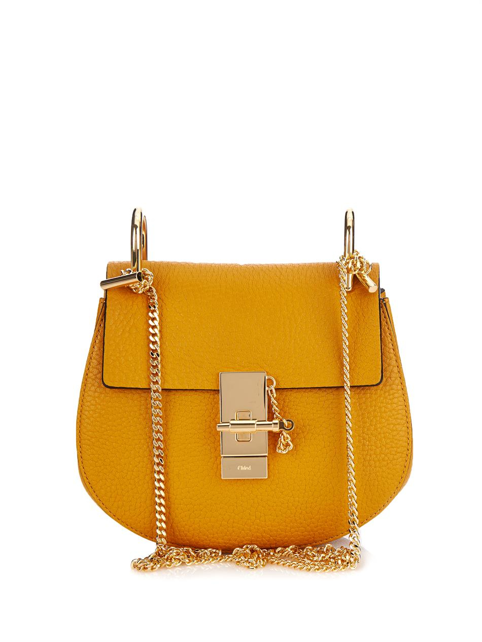chlo drew mini leather shoulder bag in yellow lyst. Black Bedroom Furniture Sets. Home Design Ideas
