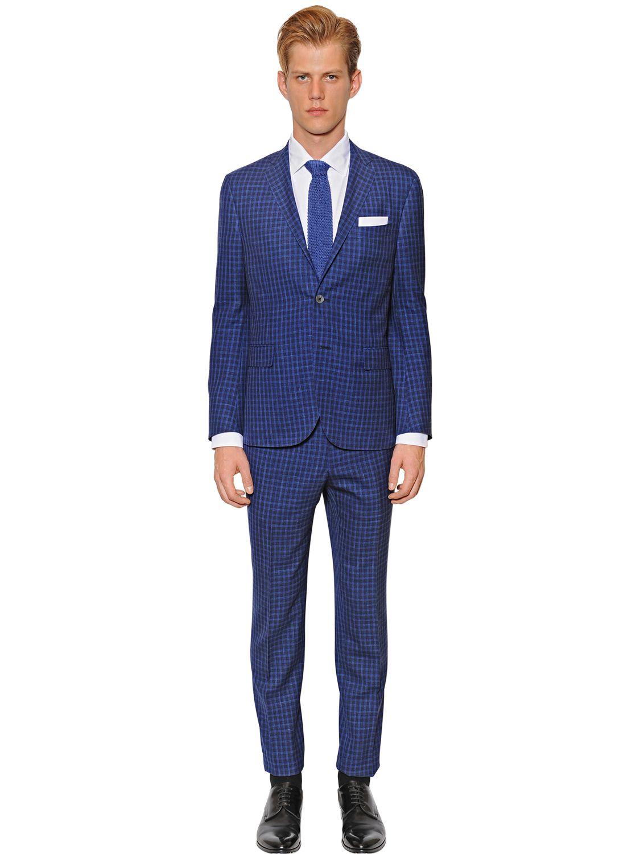 Corneliani Wool, Silk & Linen Check Suit in Blue for Men | Lyst