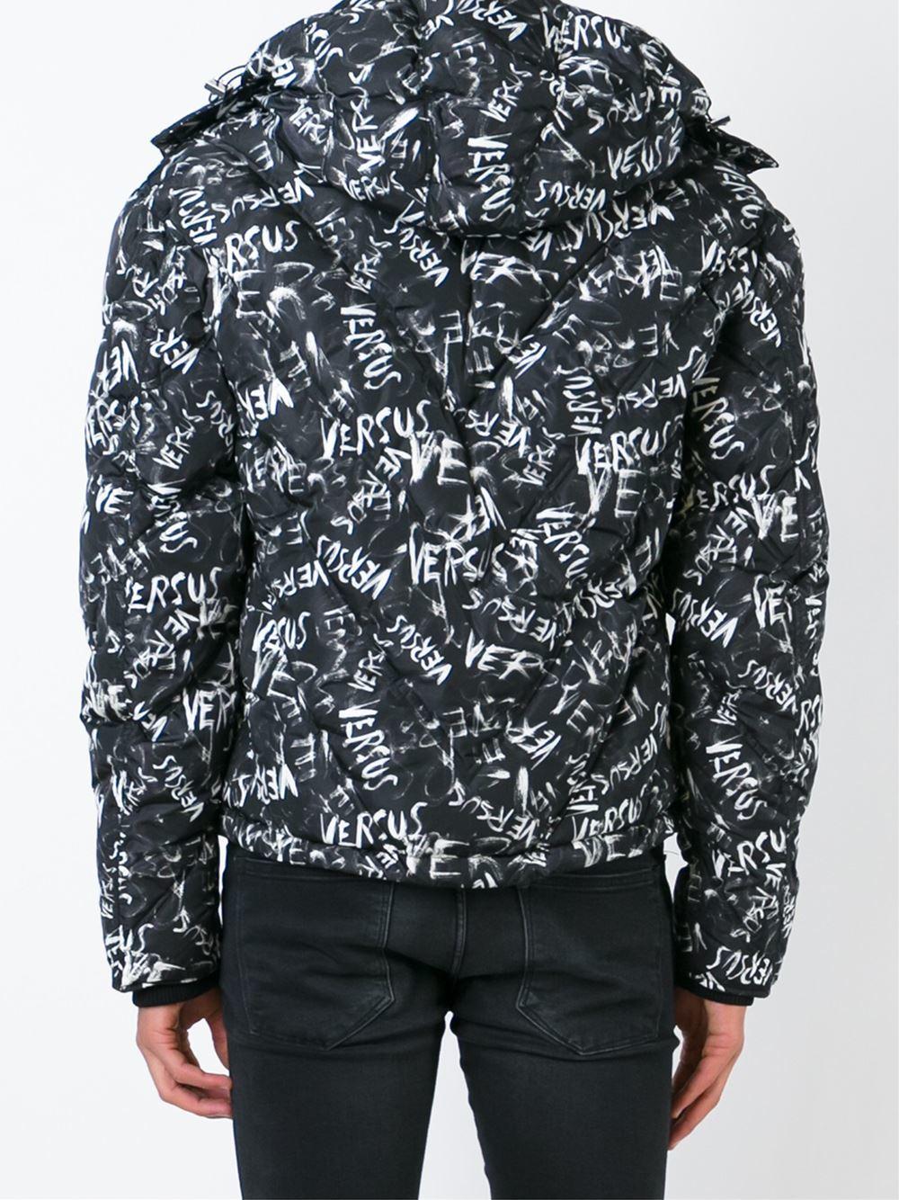 Versus Cotton Allover Logo Print Padded Jacket in Black for Men