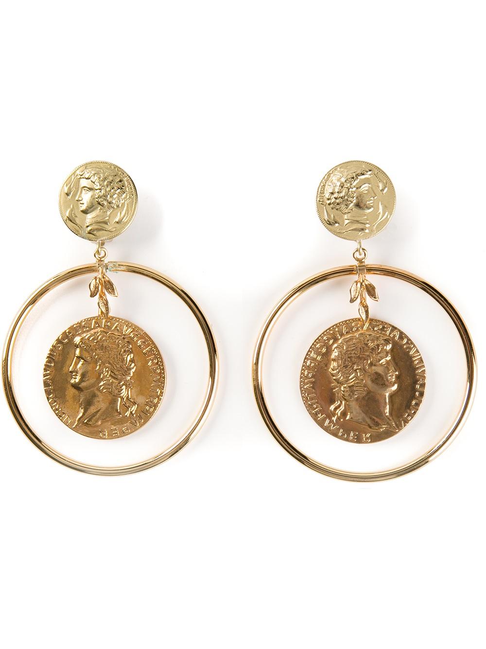 Dolce Amp Gabbana Roman Coin Earrings In Metallic Lyst