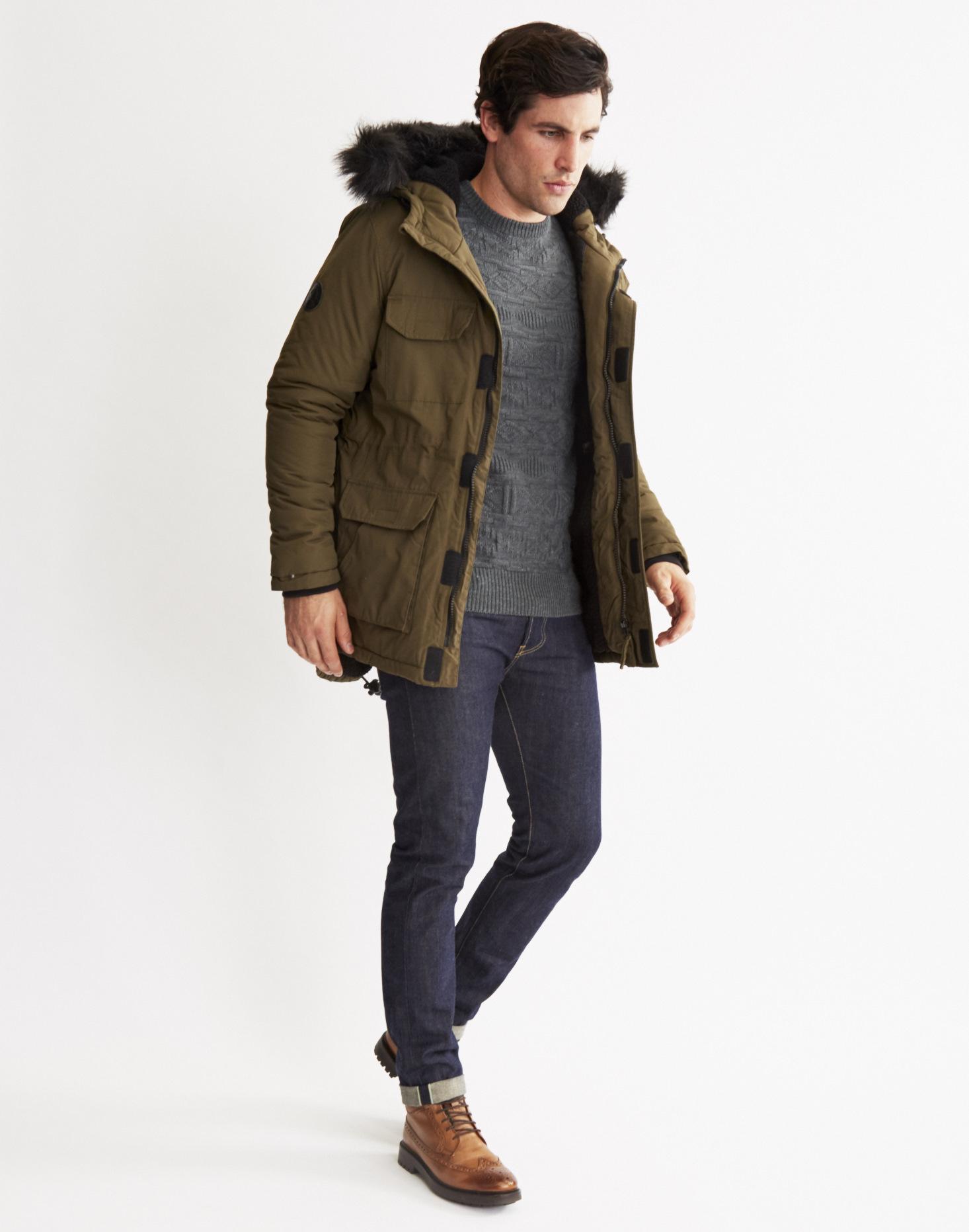 Bellfield Nimrod Fur Trimmed Parka Jacket In Natural For
