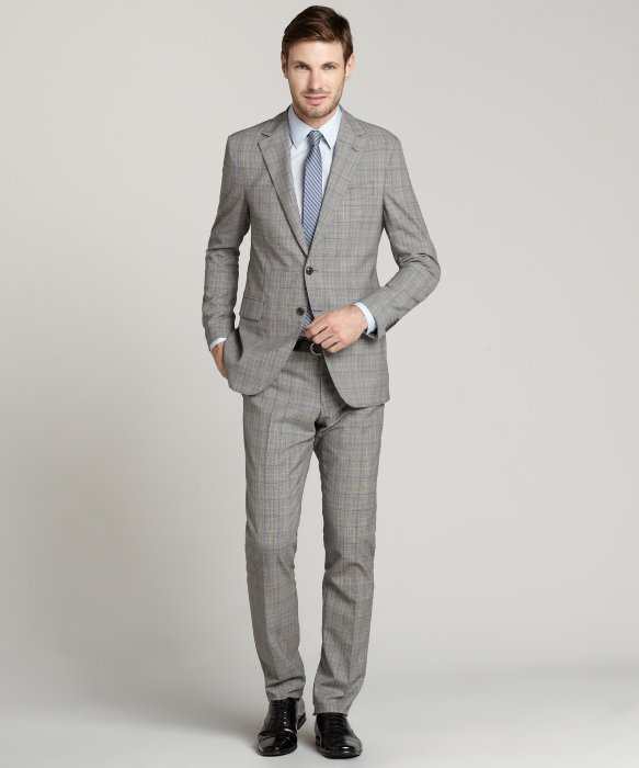 Etro Light Grey Glen Plaid Wool 2button Suit with Flat Front Pants