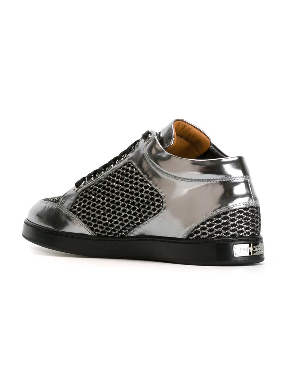 jimmy choo 39 miami 39 sneakers in silver metallic lyst. Black Bedroom Furniture Sets. Home Design Ideas