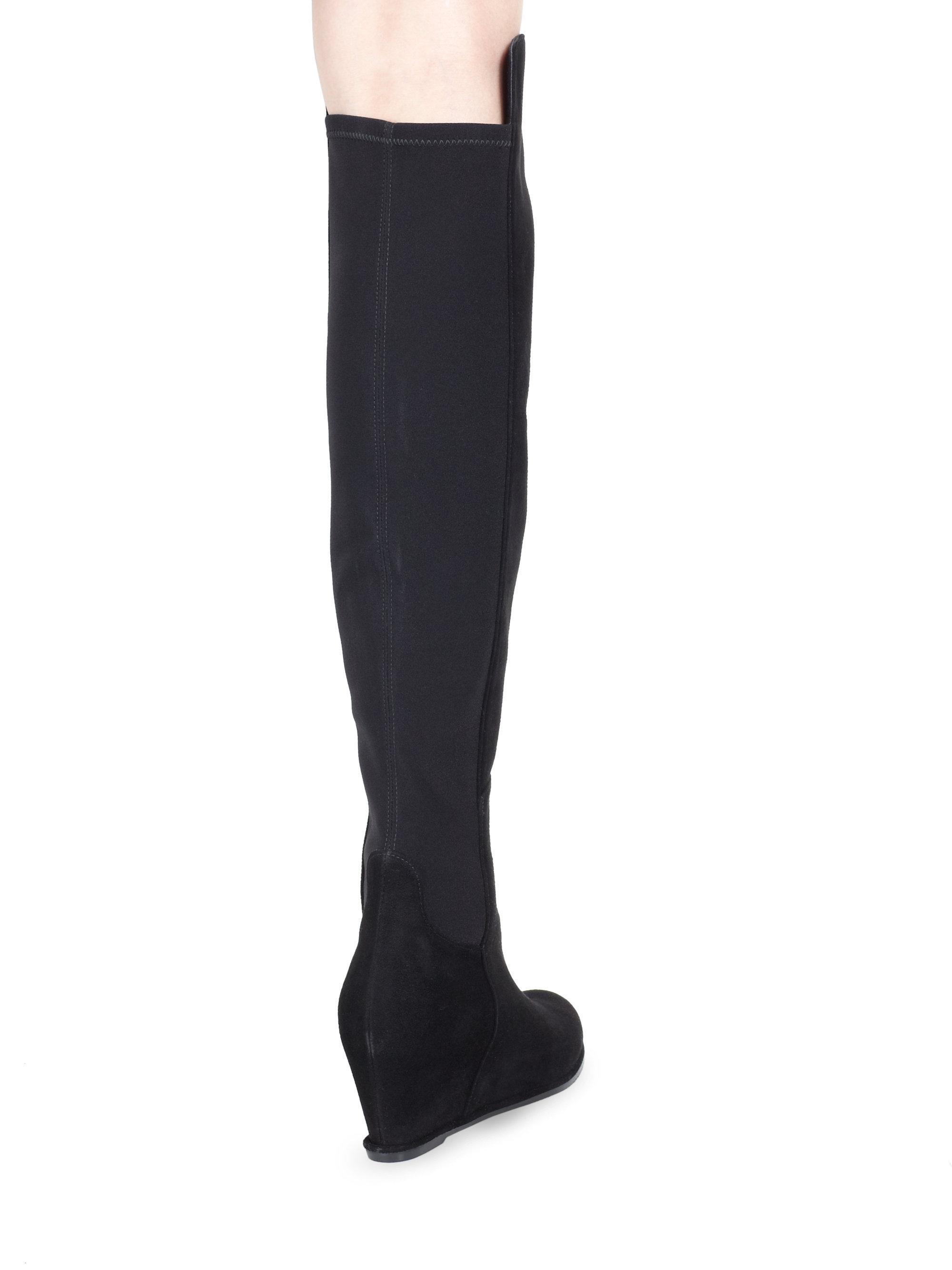 Stuart weitzman Suede Over-the-knee Wedge Boots in Black | Lyst