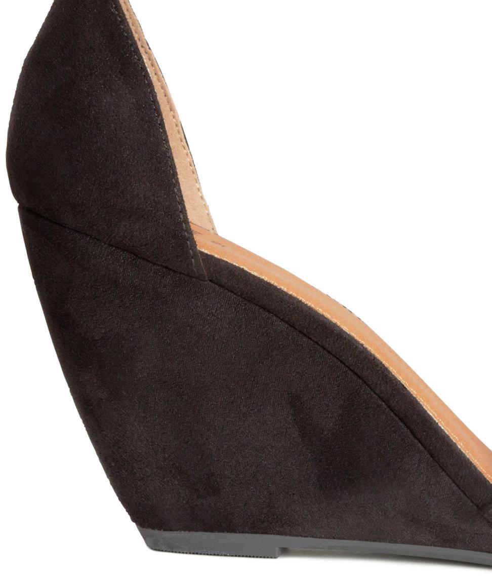 H Amp M Wedge Heel Sandals In Black Lyst