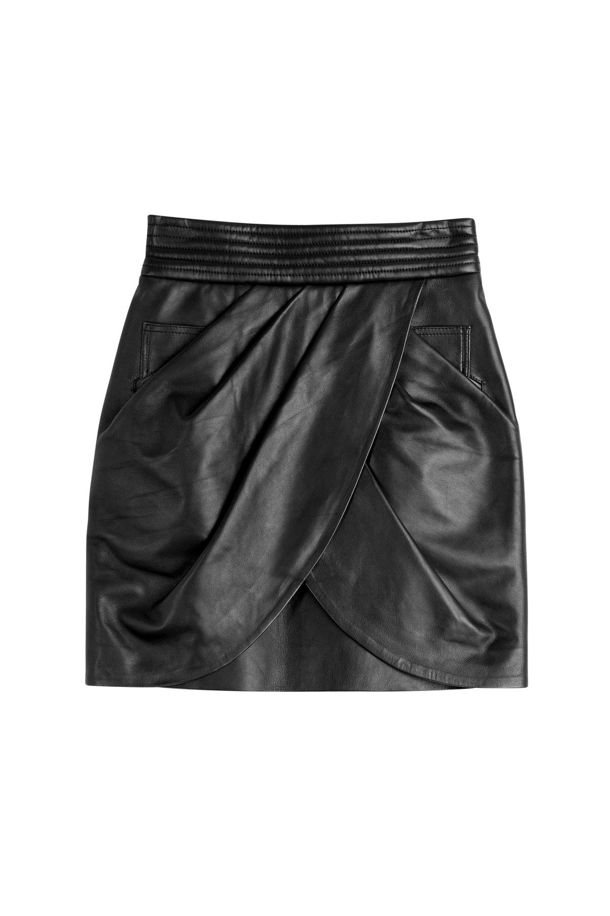balmain draped leather skirt in black lyst