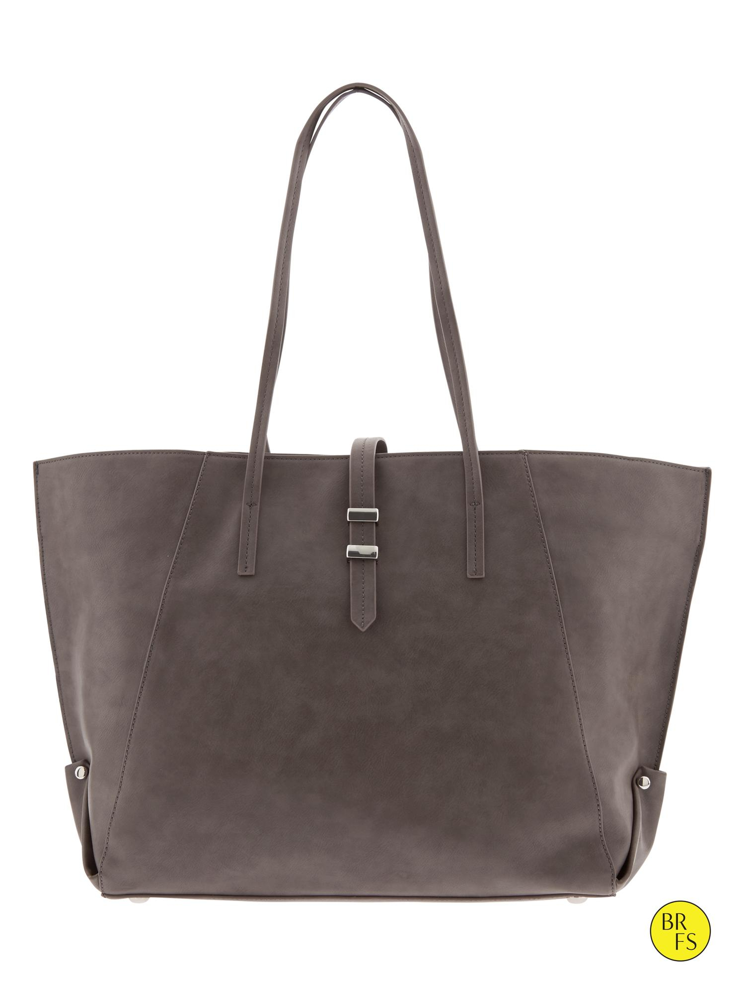 Banana Republic Factory Faux-Leather Tote in Gray (Light gray) | Lyst