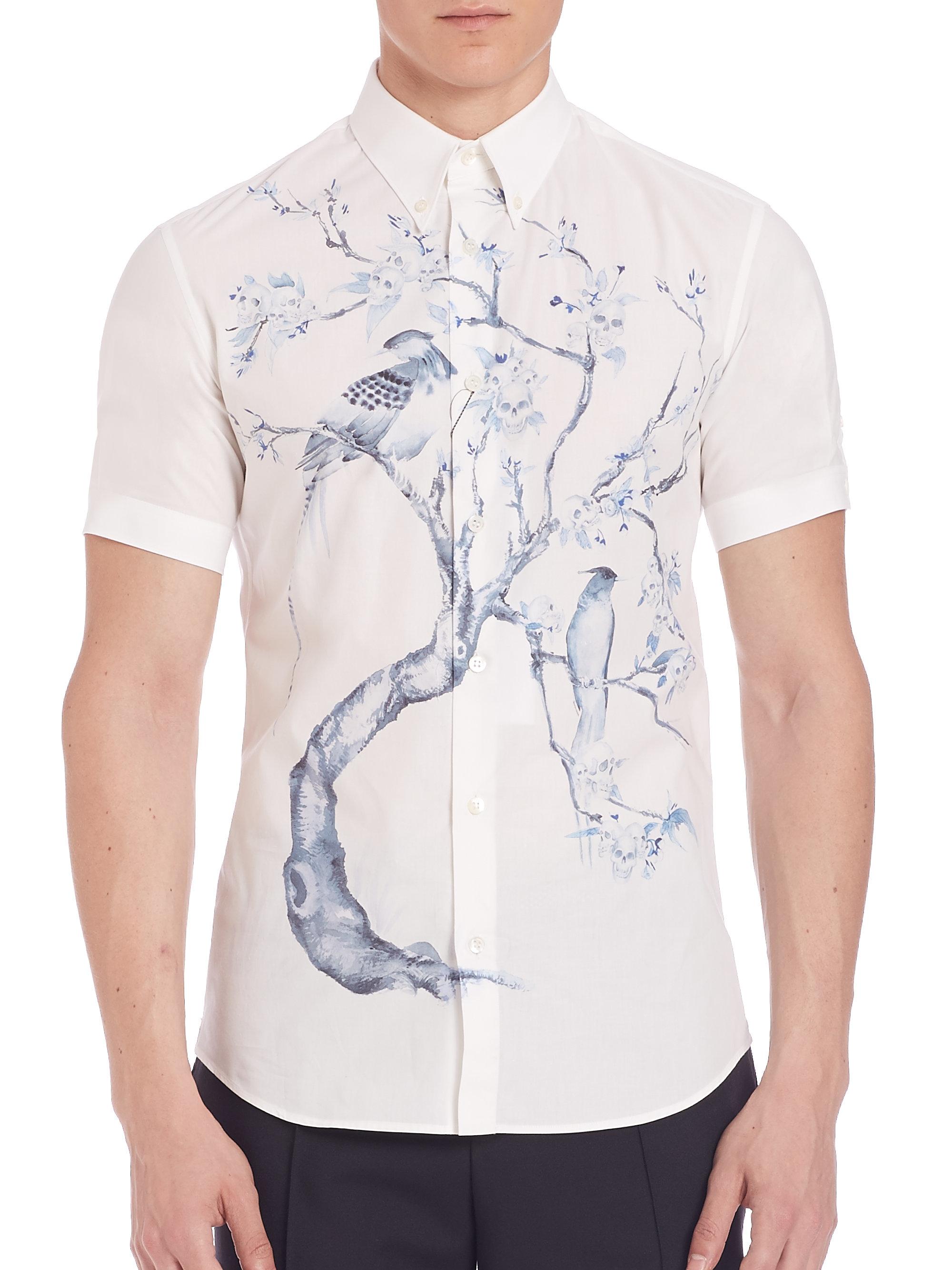 Alexander mcqueen printed short sleeve shirt in blue for for Alexander mcqueen shirt men