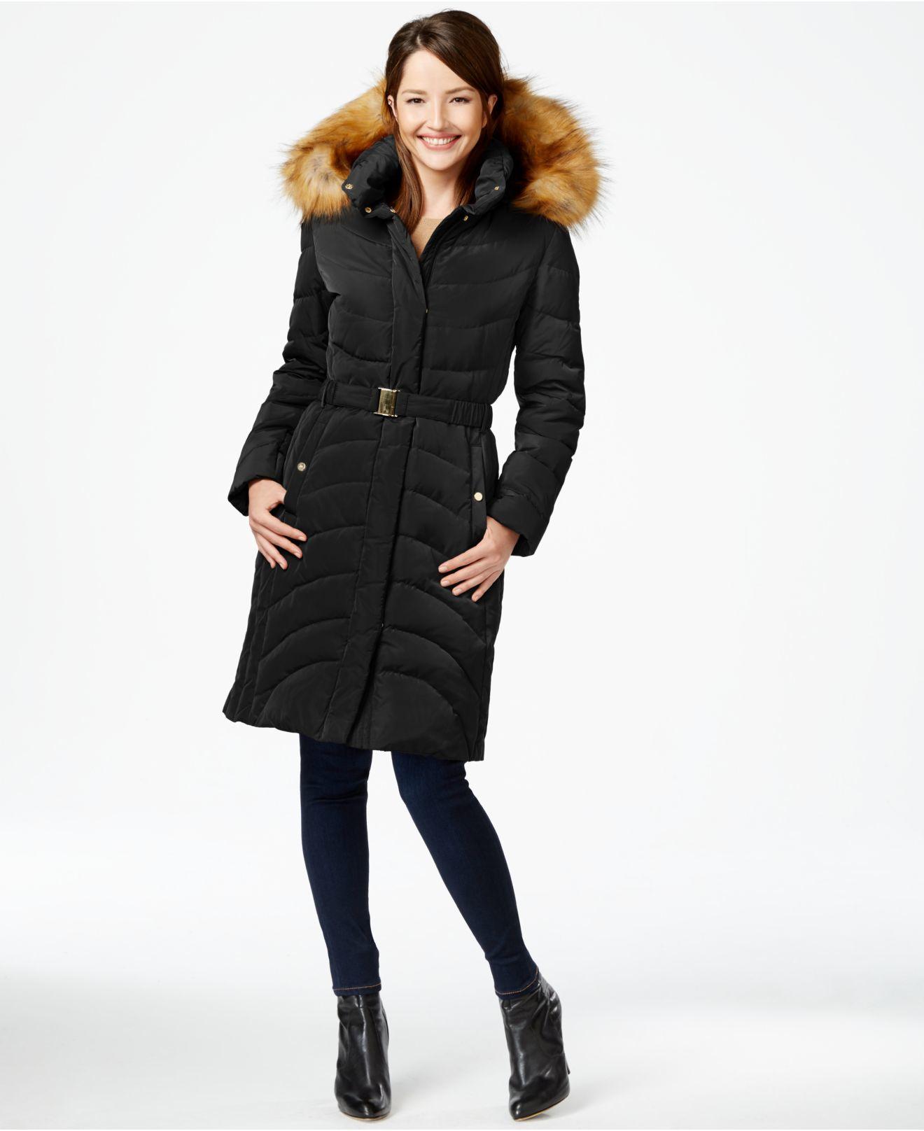 Jones New York Faux Fur Hood Down Belted Puffer Coat In