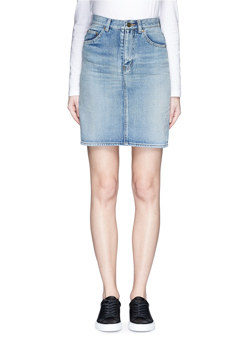 laurent vintage wash denim skirt in blue lyst