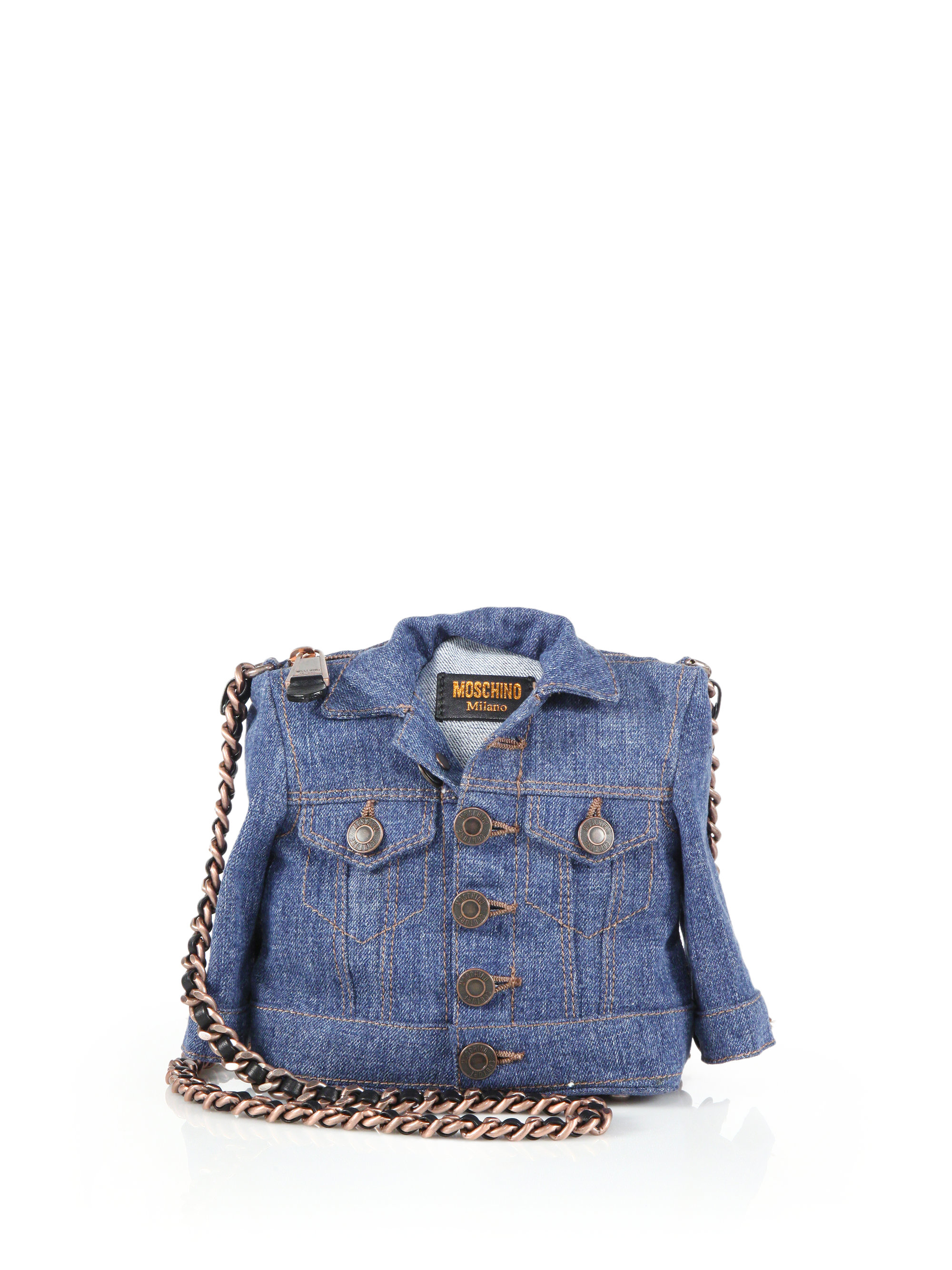290f5c3765ac4 Moschino Denim Jacket Crossbody Bag in Blue - Lyst