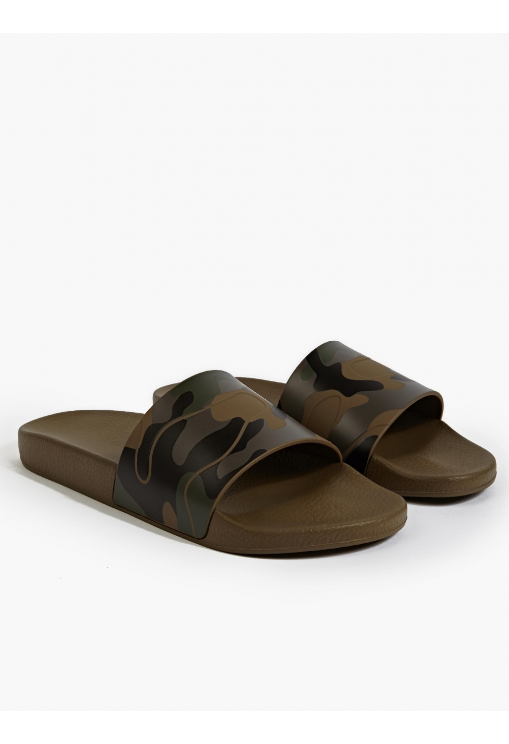 Valentino Camouflage Print Slides In Green For Men Lyst