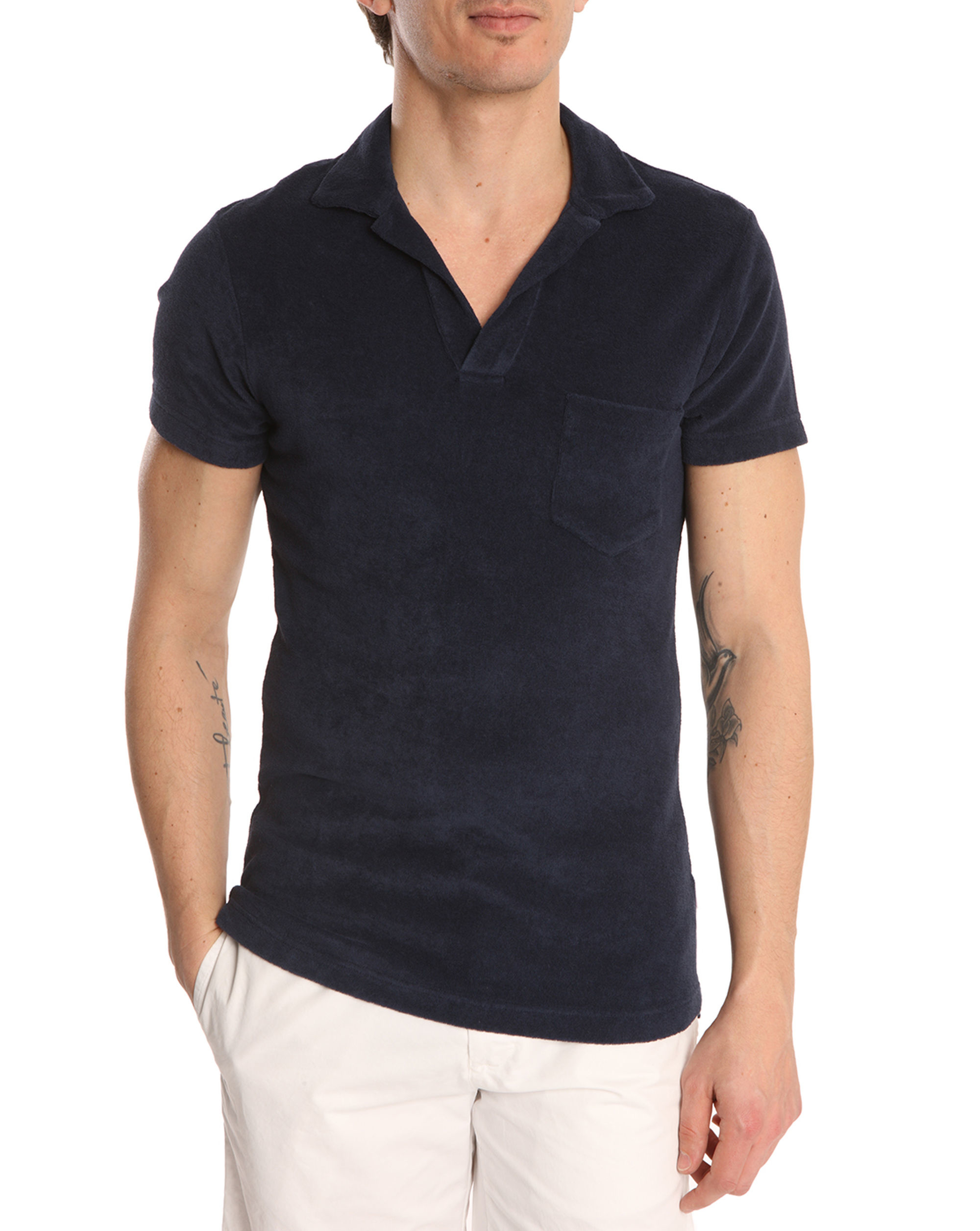Orlebar brown navy terry cloth polo shirt in blue for men for Mens terry cloth polo shirt
