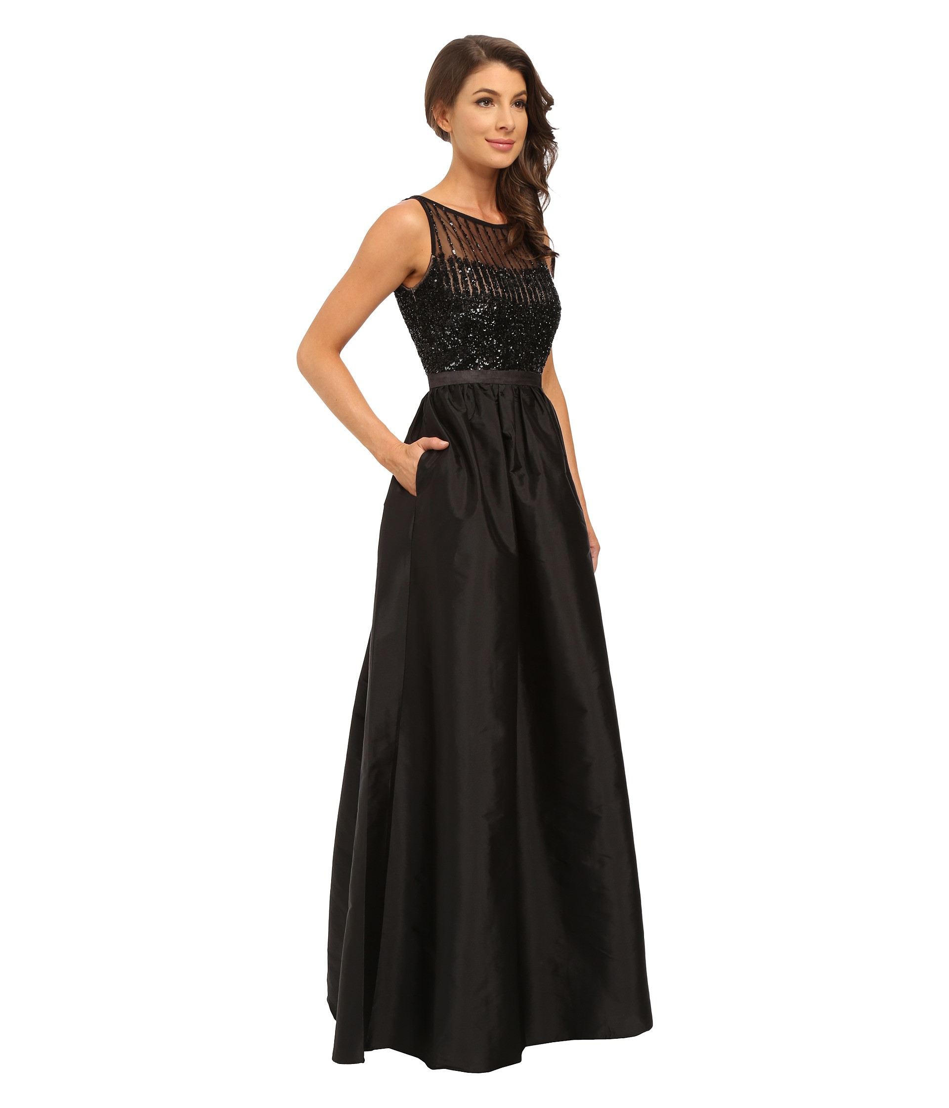 Lyst - Adrianna Papell Sleeveless Beaded Bodice Taffeta Ball Gown in ...