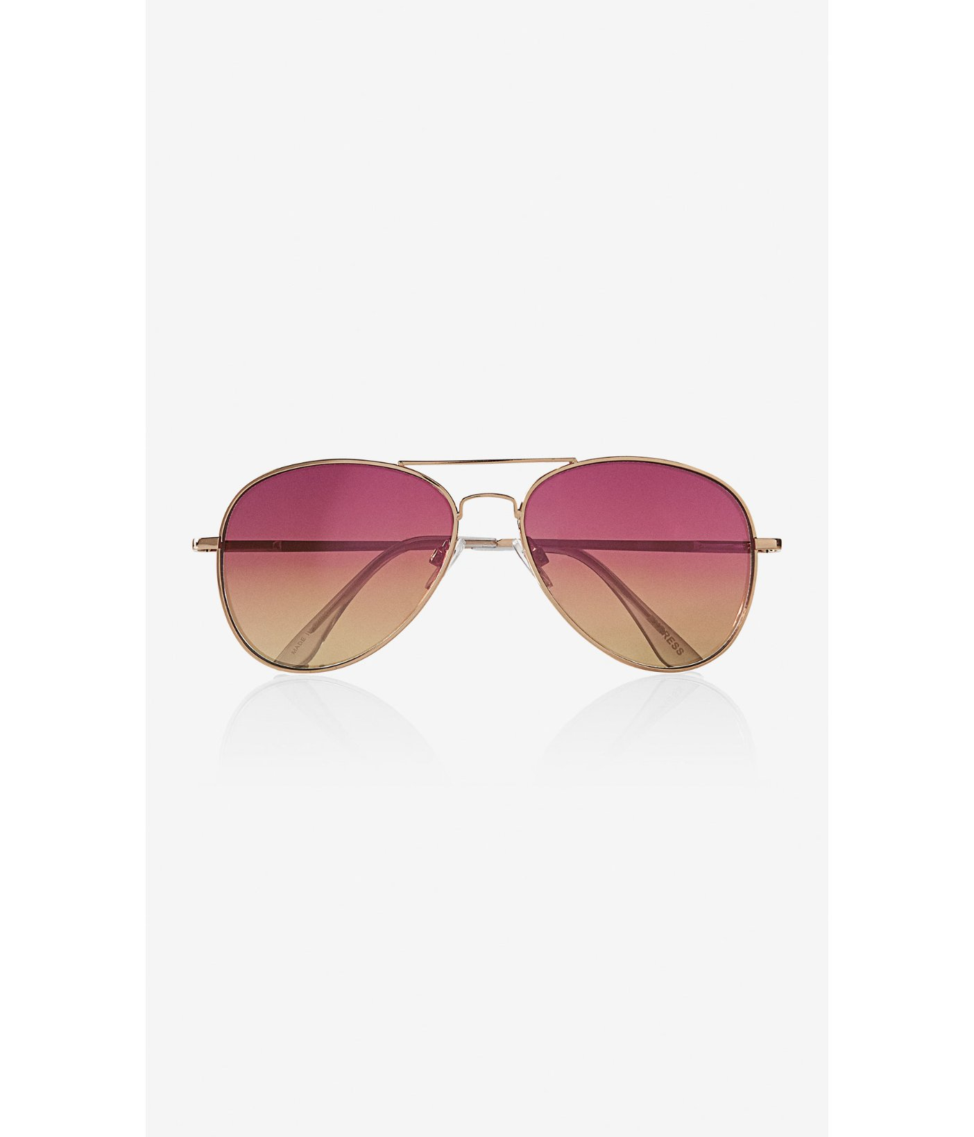 Express Mirror Color Lens Gold Frame Aviator Sunglasses in ...