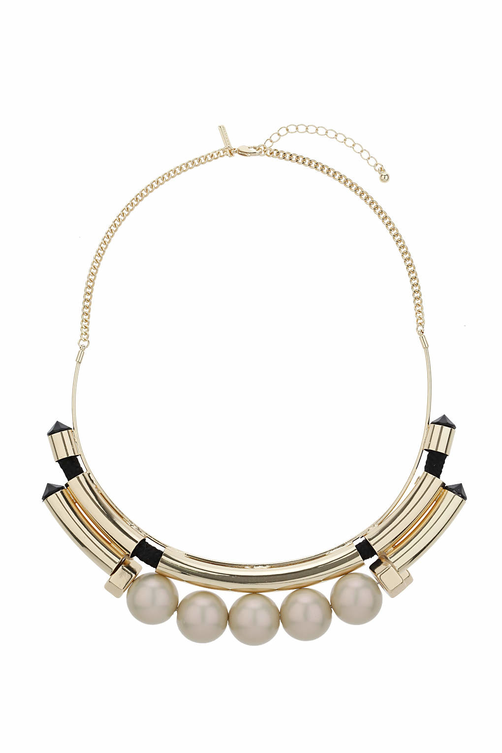 topshop pearl bar collar necklace in gray lyst