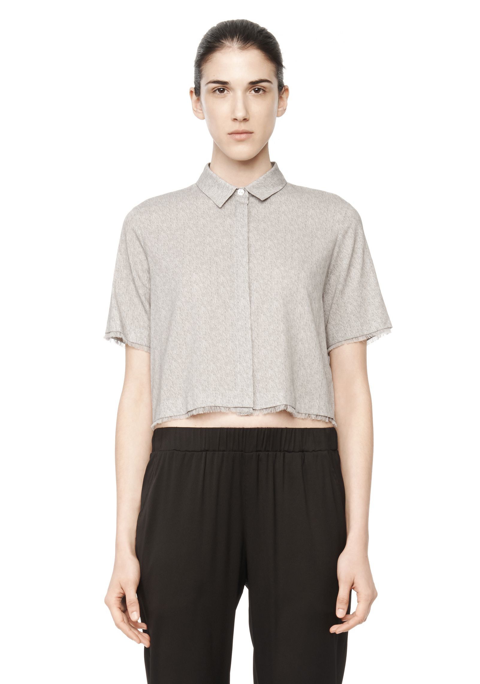 T by alexander wang cropped silk collared shirt in gray lyst for T by alexander wang t shirt