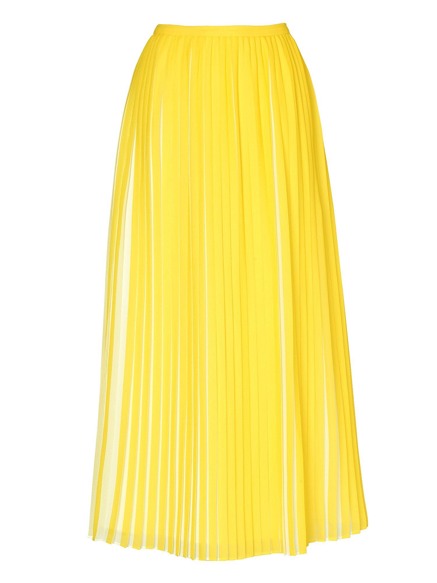 l k sasoon pleated skirt in yellow lyst