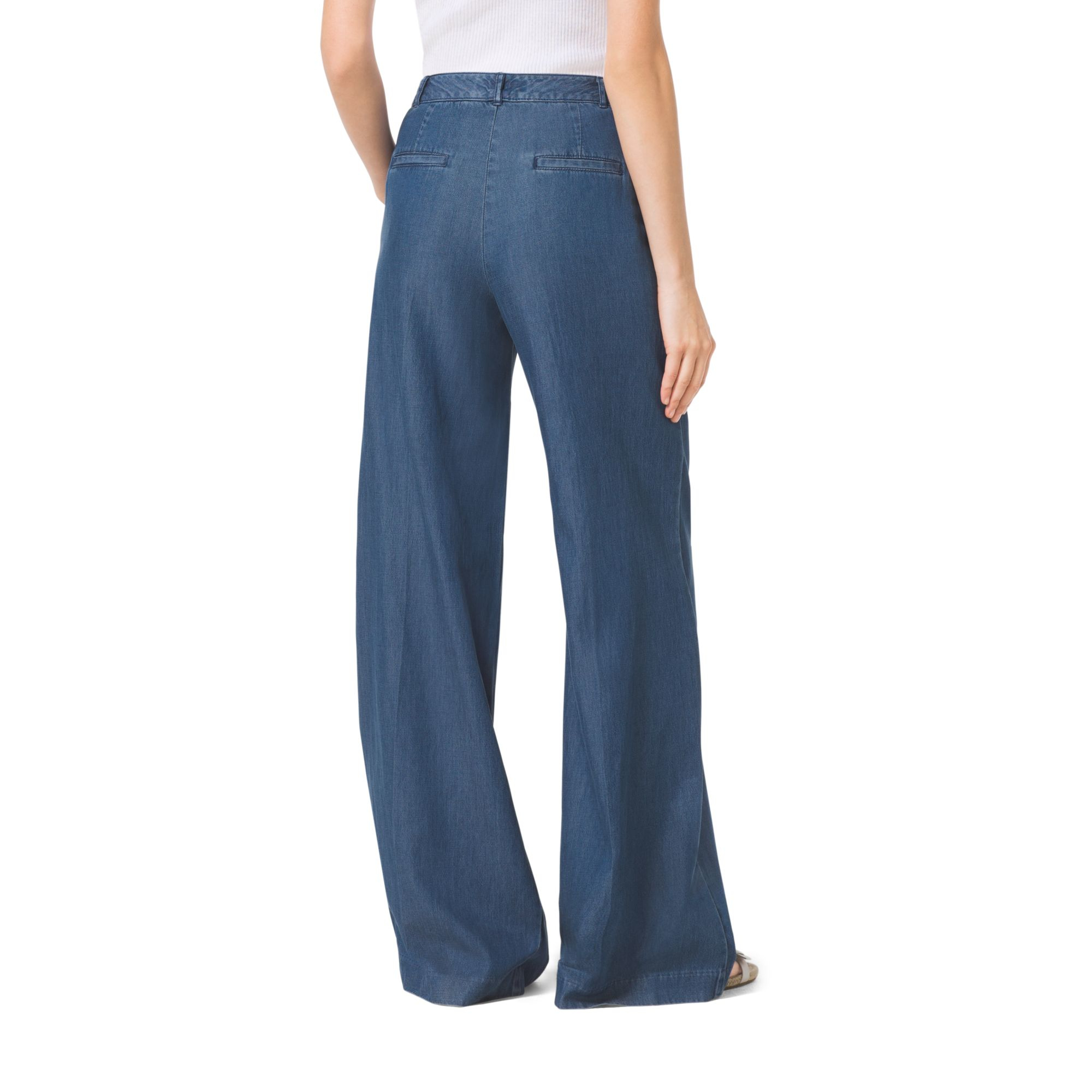 Michael kors Chambray Wide-leg Pants in Blue | Lyst
