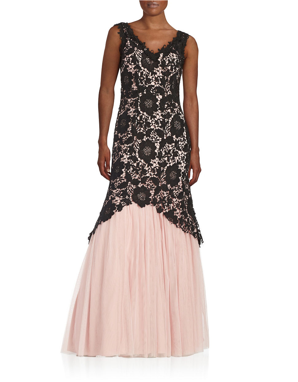 Lyst - Betsy & Adam Lace Trumpet Gown in Black