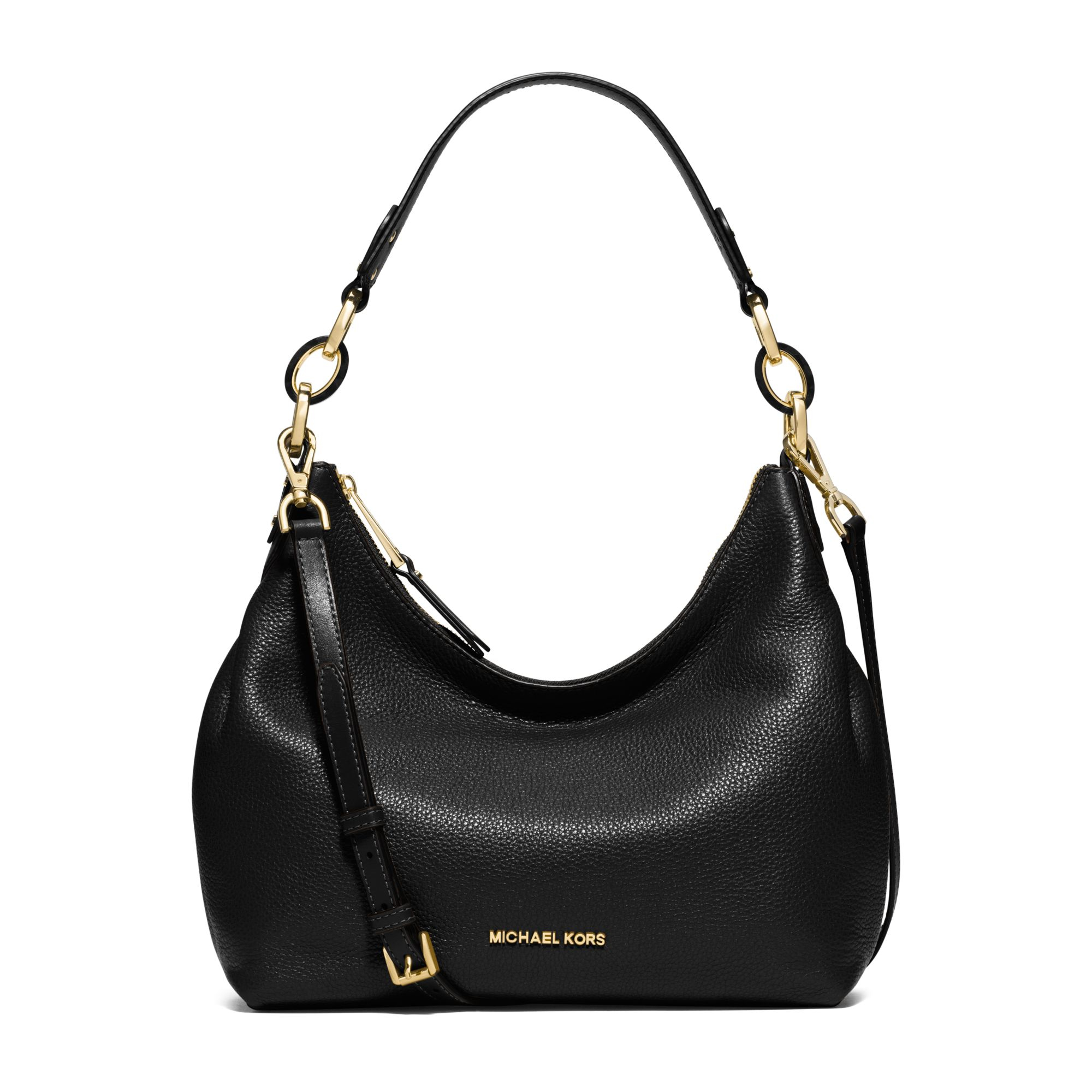Michael kors Isabella Medium Leather Shoulder Bag in Black | Lyst