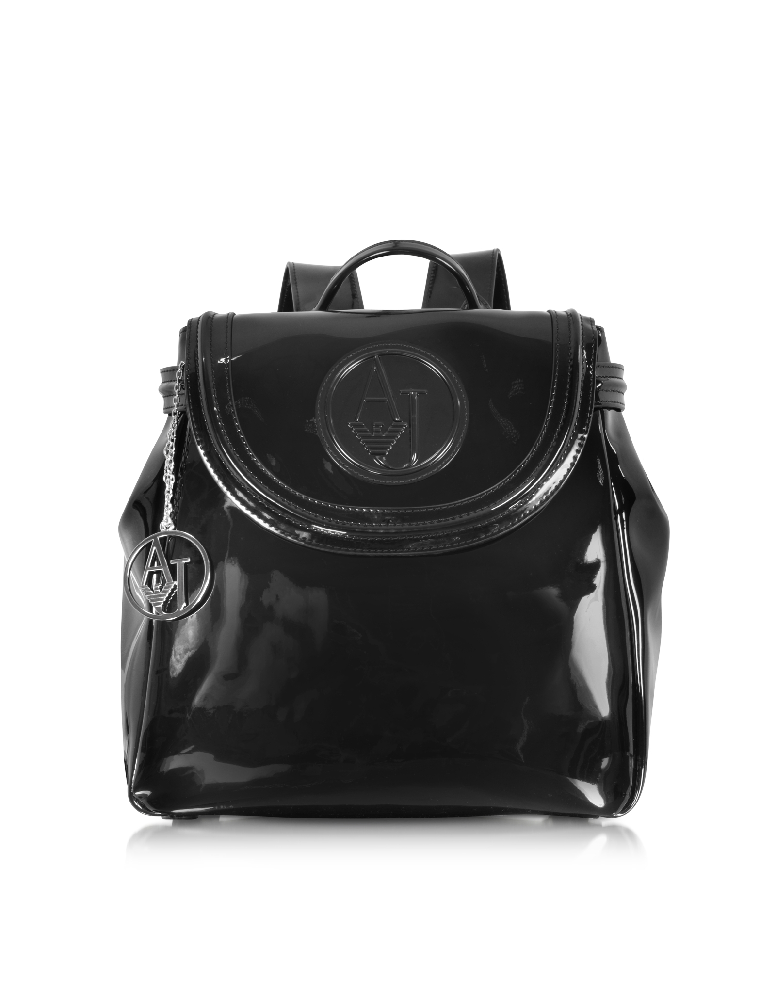 Armani Jeans Black Patent Eco Leather Backpack in Black - Lyst c337b8ac54803