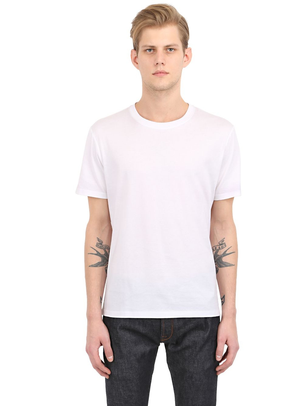 Valentino cotton t shirt in white for men lyst for Mens white cotton t shirts