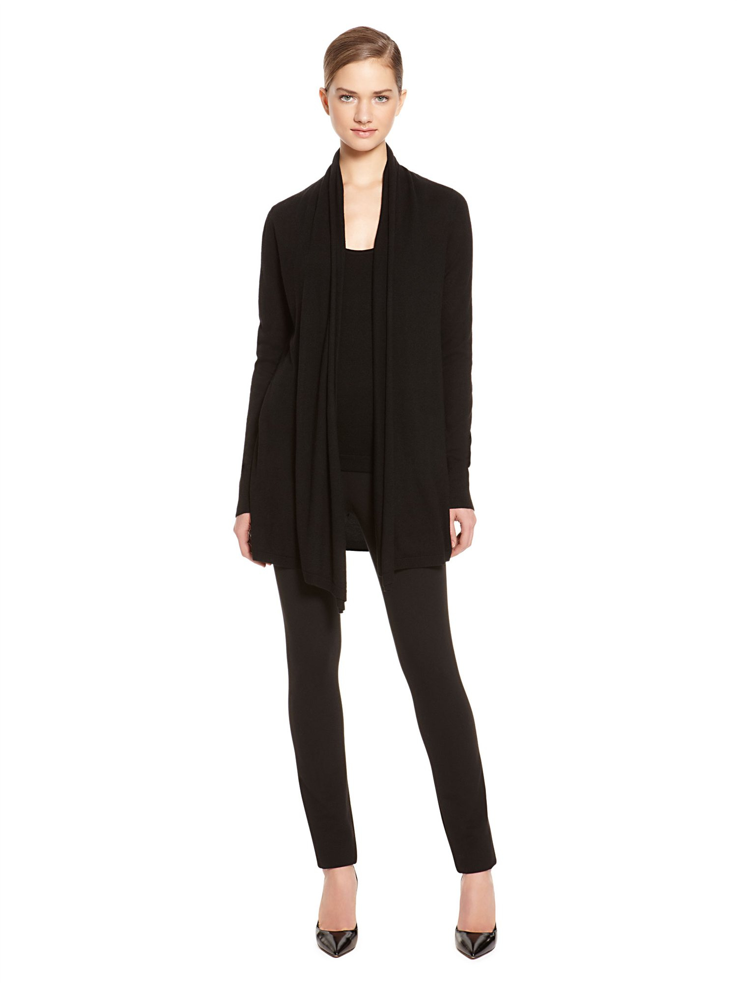 donna karan new york exclusive cashmere drape front cozy. Black Bedroom Furniture Sets. Home Design Ideas