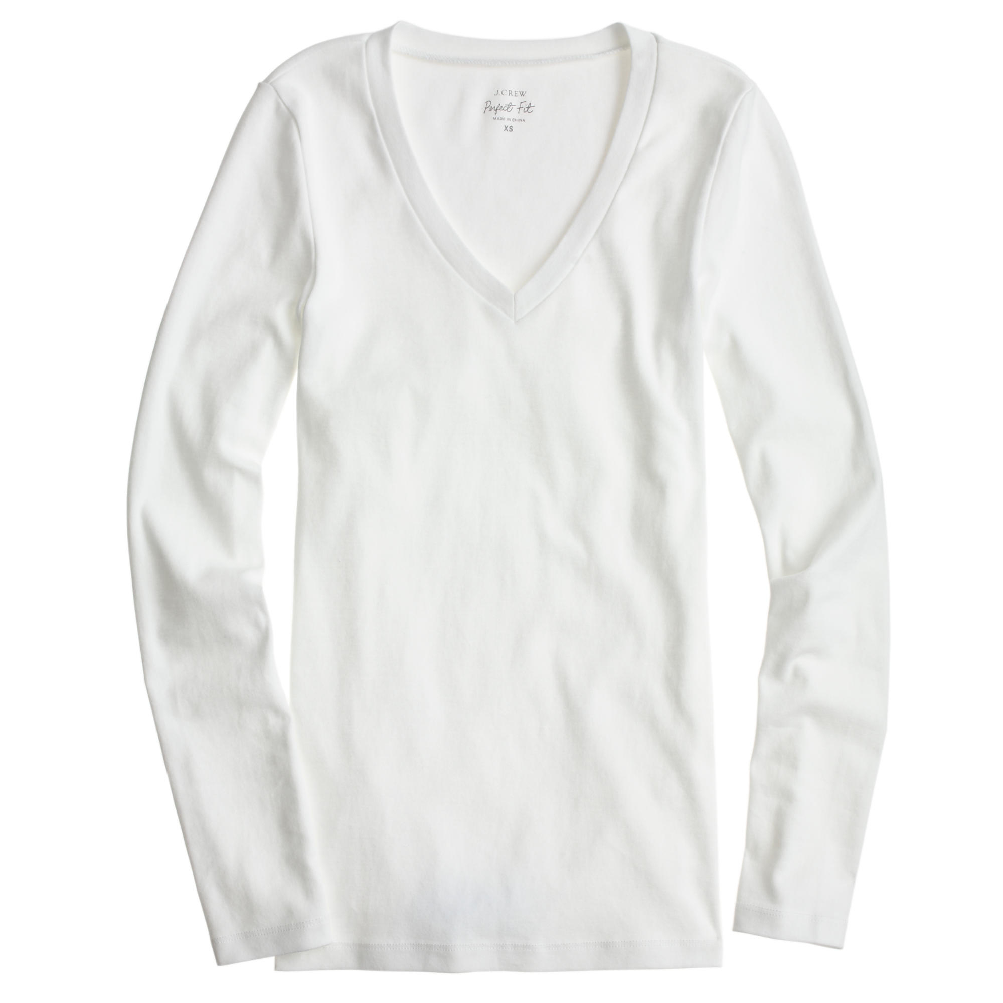 Perfect fit long sleeve v neck t shirt in white lyst for Long white v neck t shirt