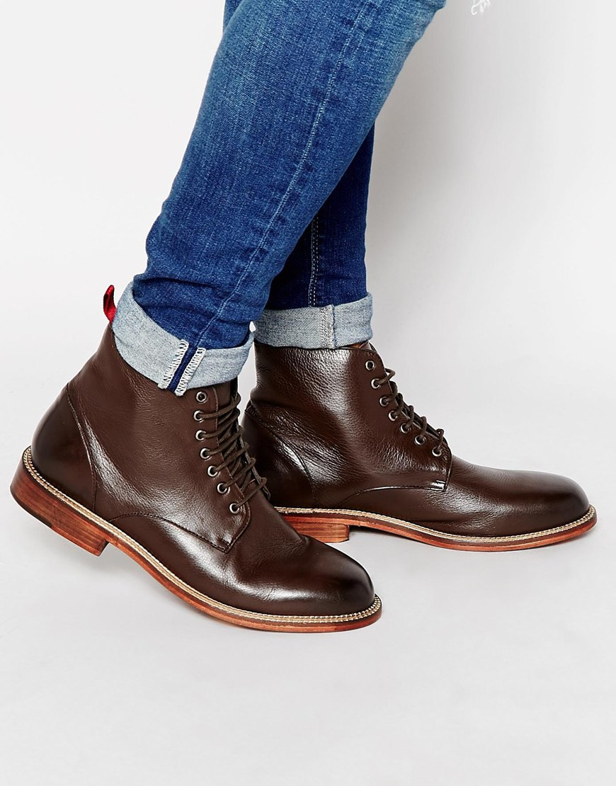 Lyst - Asos Lace Up Boots In Brown Leather With Red Pull Tab in Brown for  Men