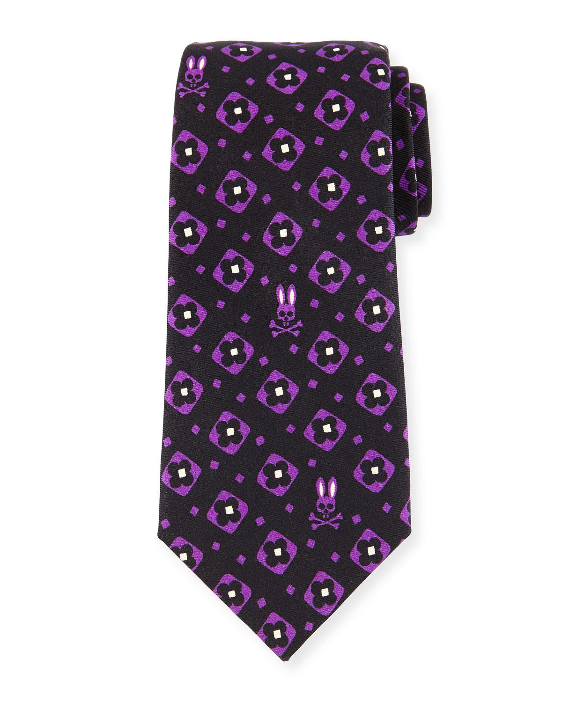 Psycho bunny Bunny Floral-square Silk Tie in Black for Men ...