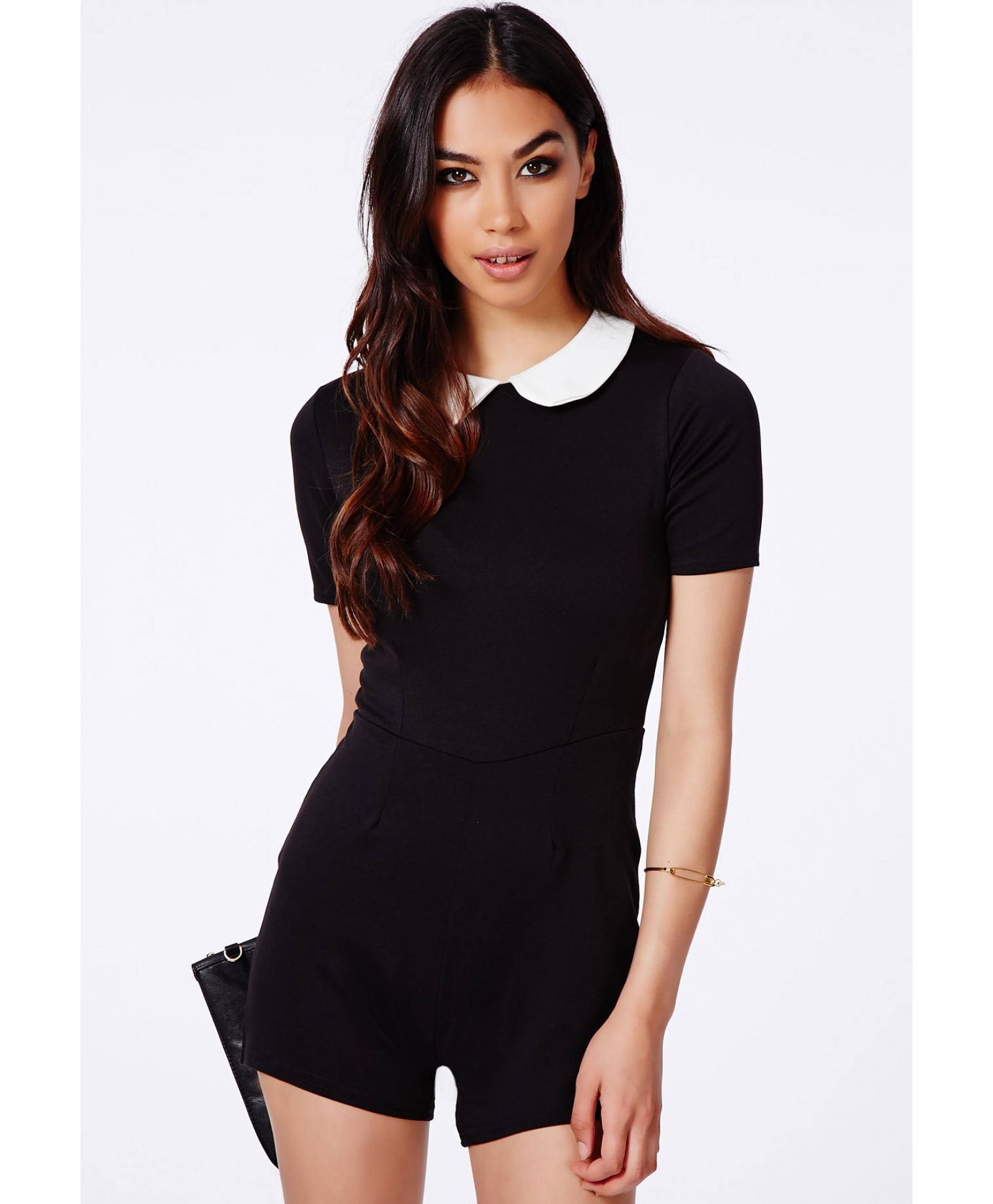 638d685facd Lyst - Missguided Walvia Monochrome Peter Pan Collar Playsuit in Black