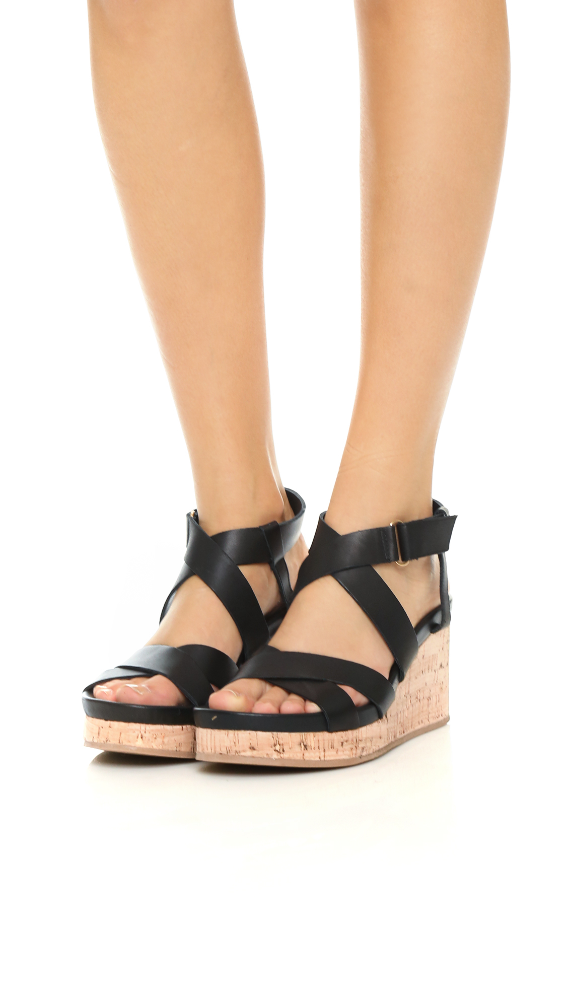 Lyst Dkny Lani Cork Wedge Sandals Black In Black