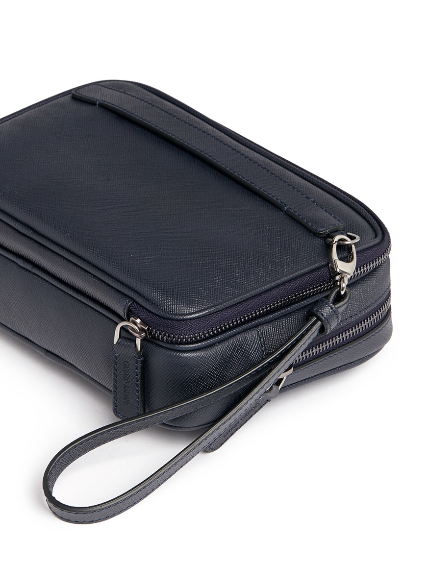 55b32849ab Giorgio Armani Blue Saffiano Leather Travel Clutch for men