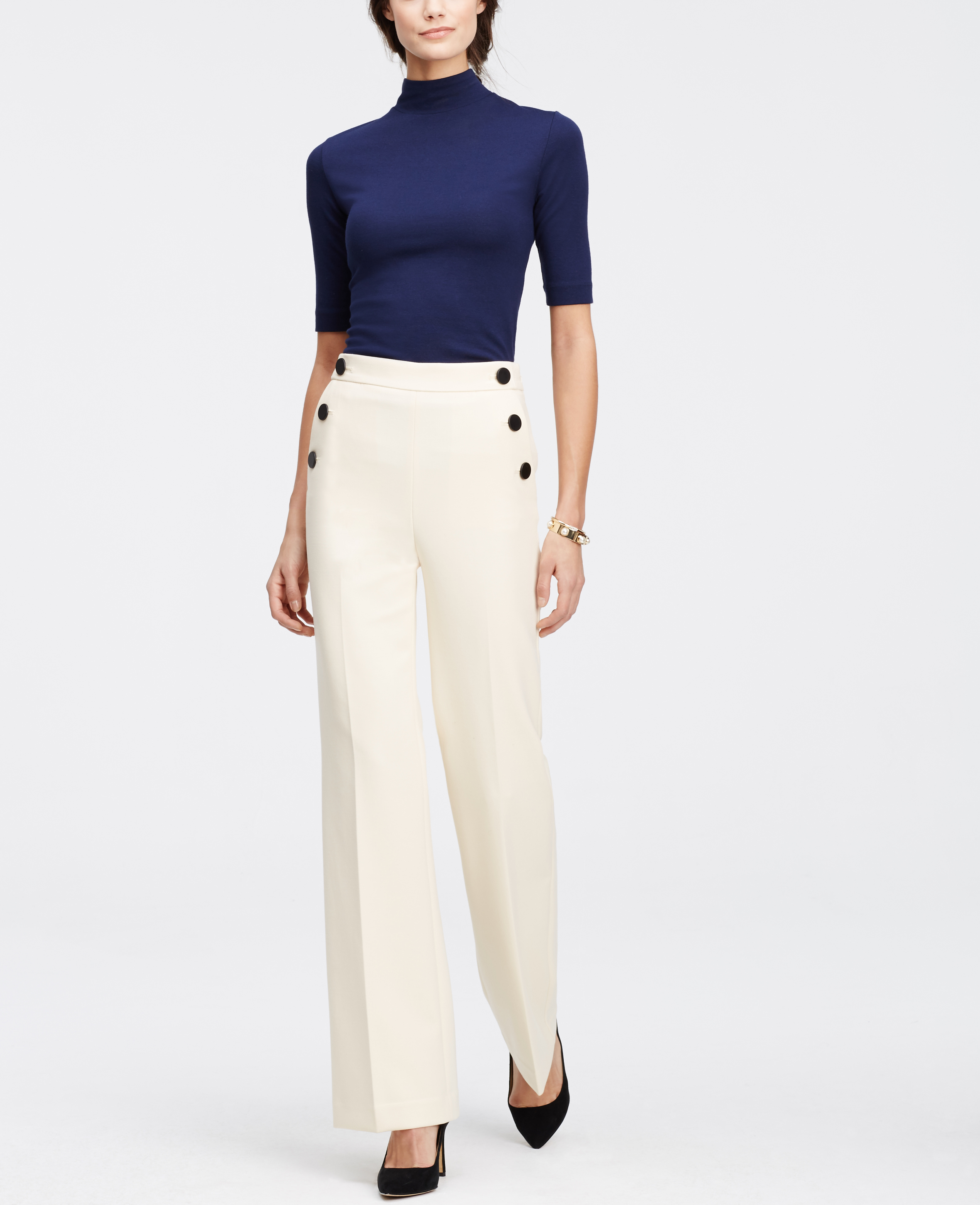 Ann taylor Sailor Pants in White | Lyst