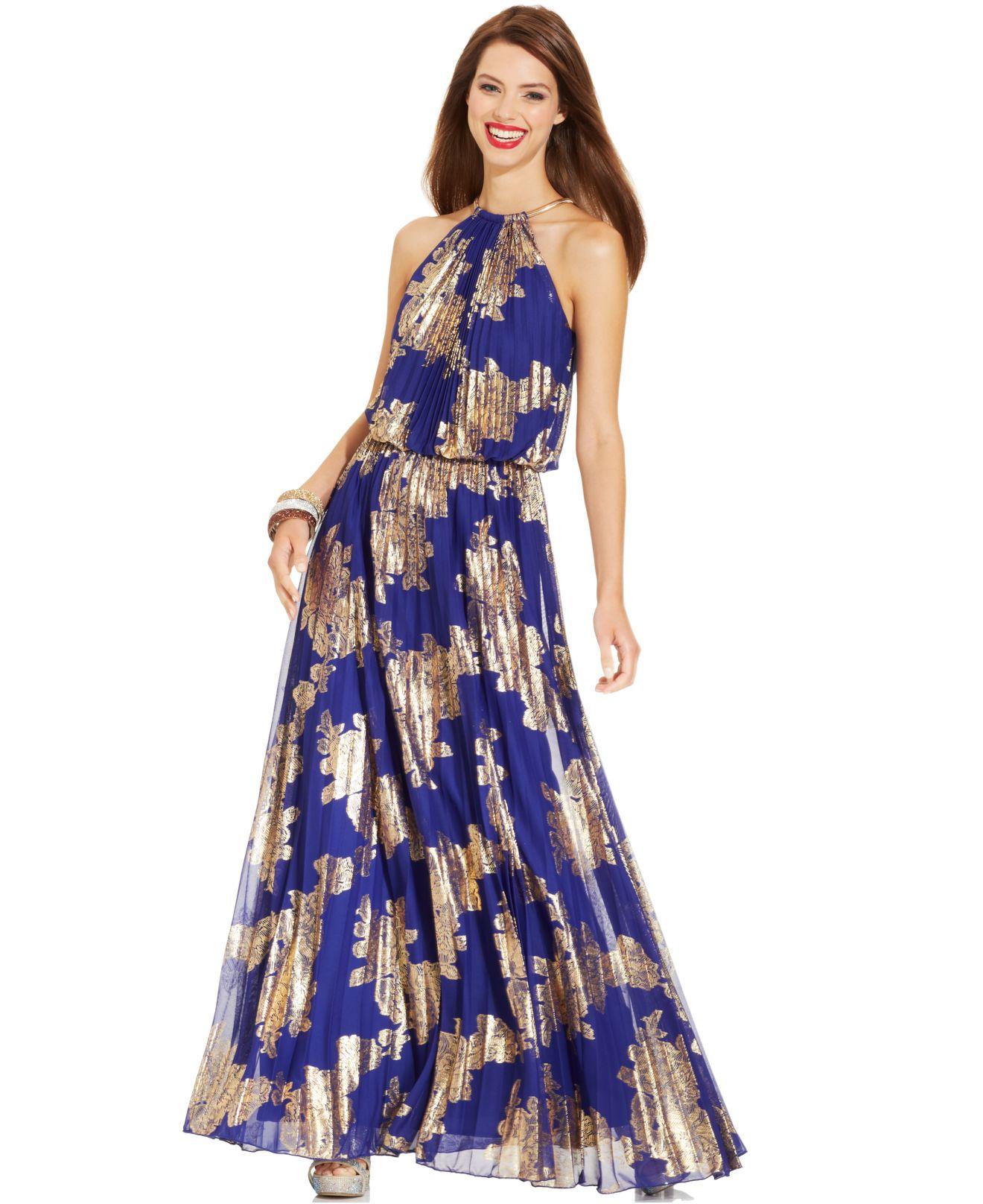 Lyst - Xscape Petite Sleeveless Pleated Halter Gown