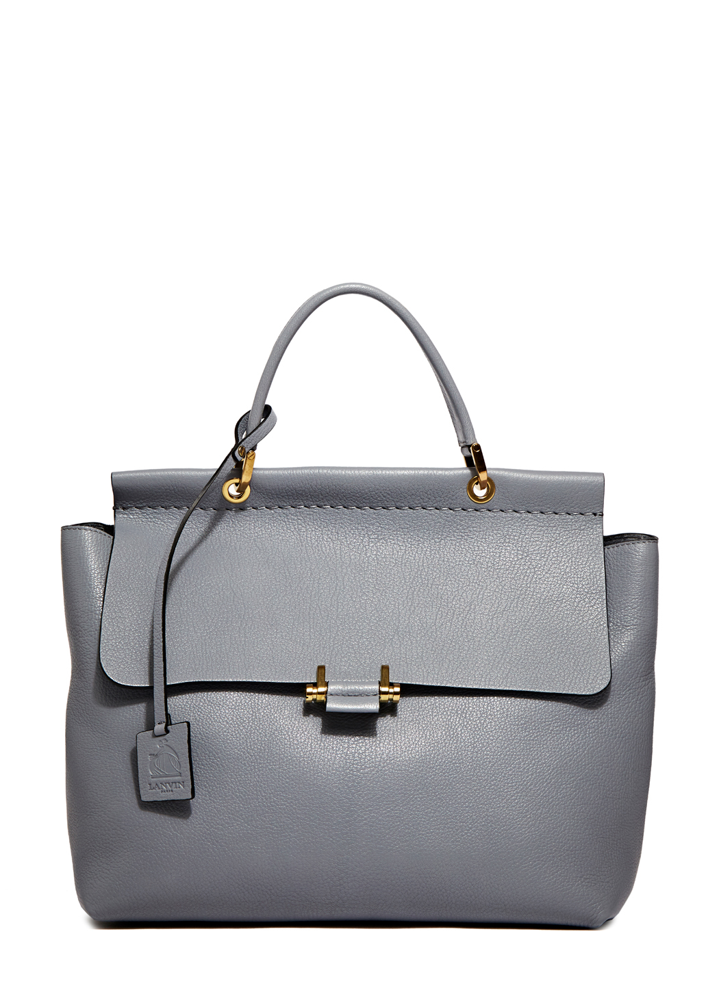 Lyst Lanvin Top Handle Leather Bag In Gray