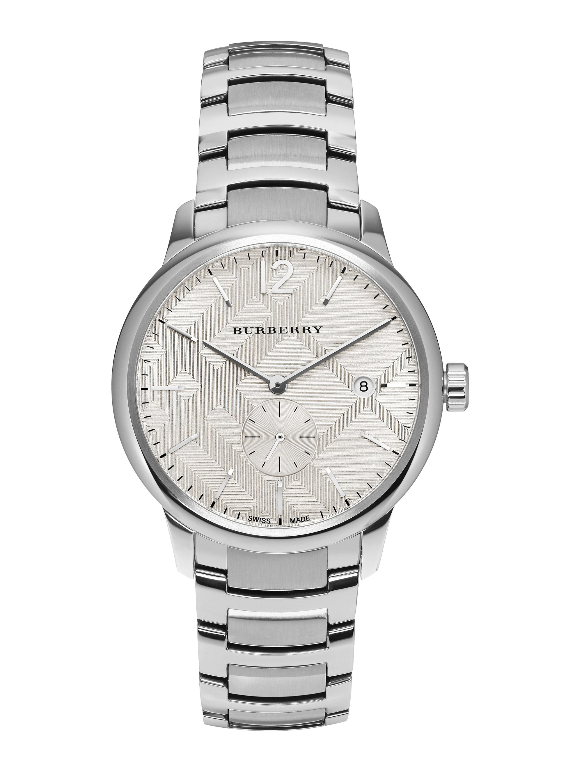 Lyst burberry round stainless steel watch in metallic for Burberry watches