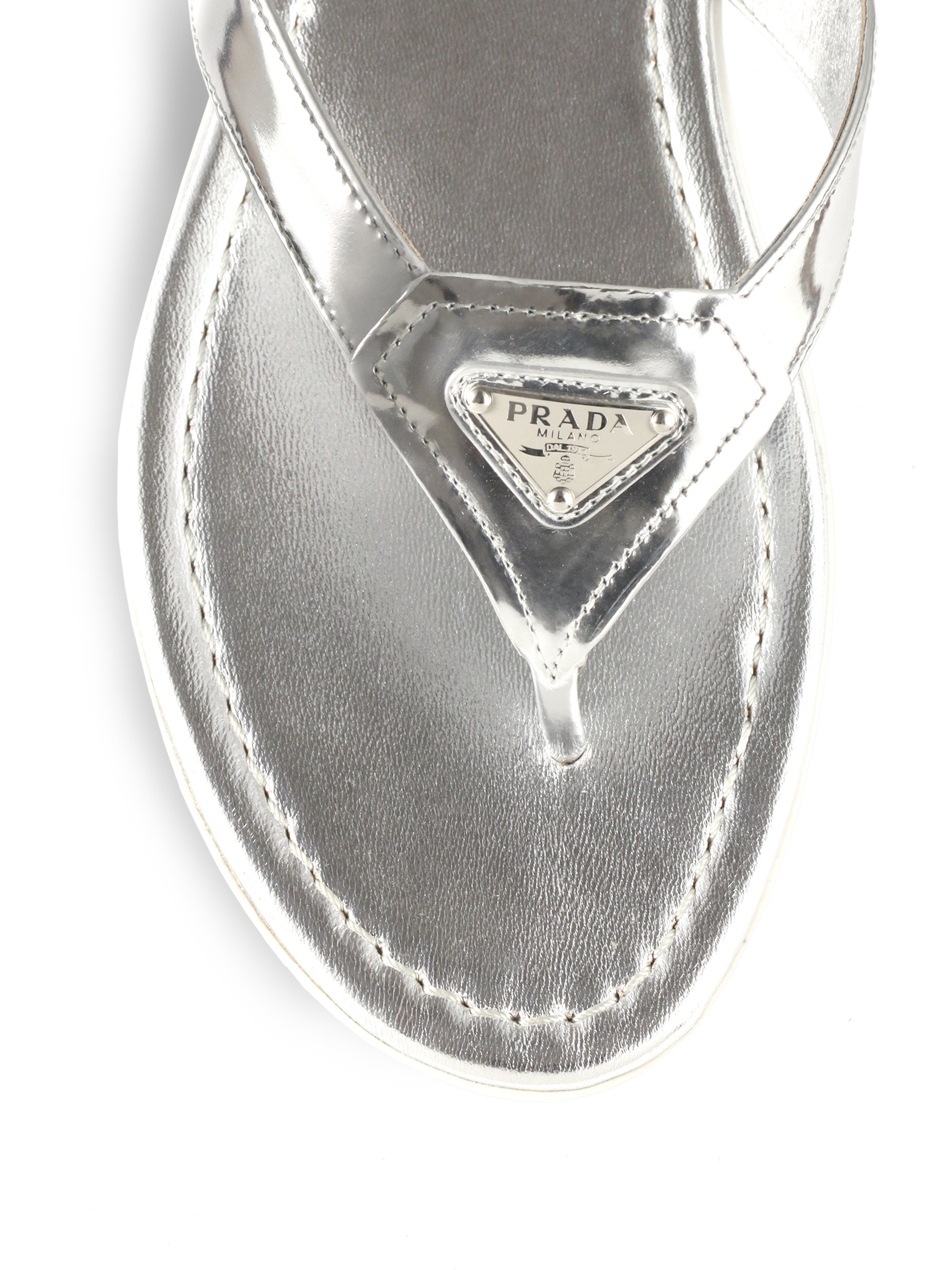 Lyst Prada Logo Metallic Leather Thong Sandals In Metallic
