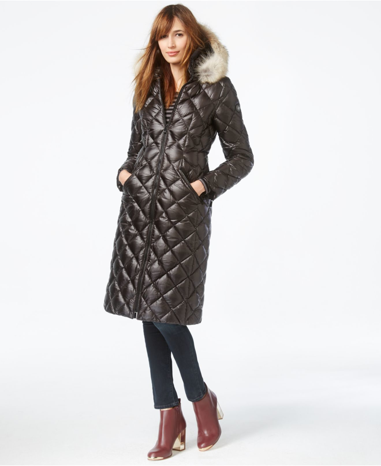 99f813f6a Dawn Levy Black Coyote-fur-trim Diamond-quilted Down Coat