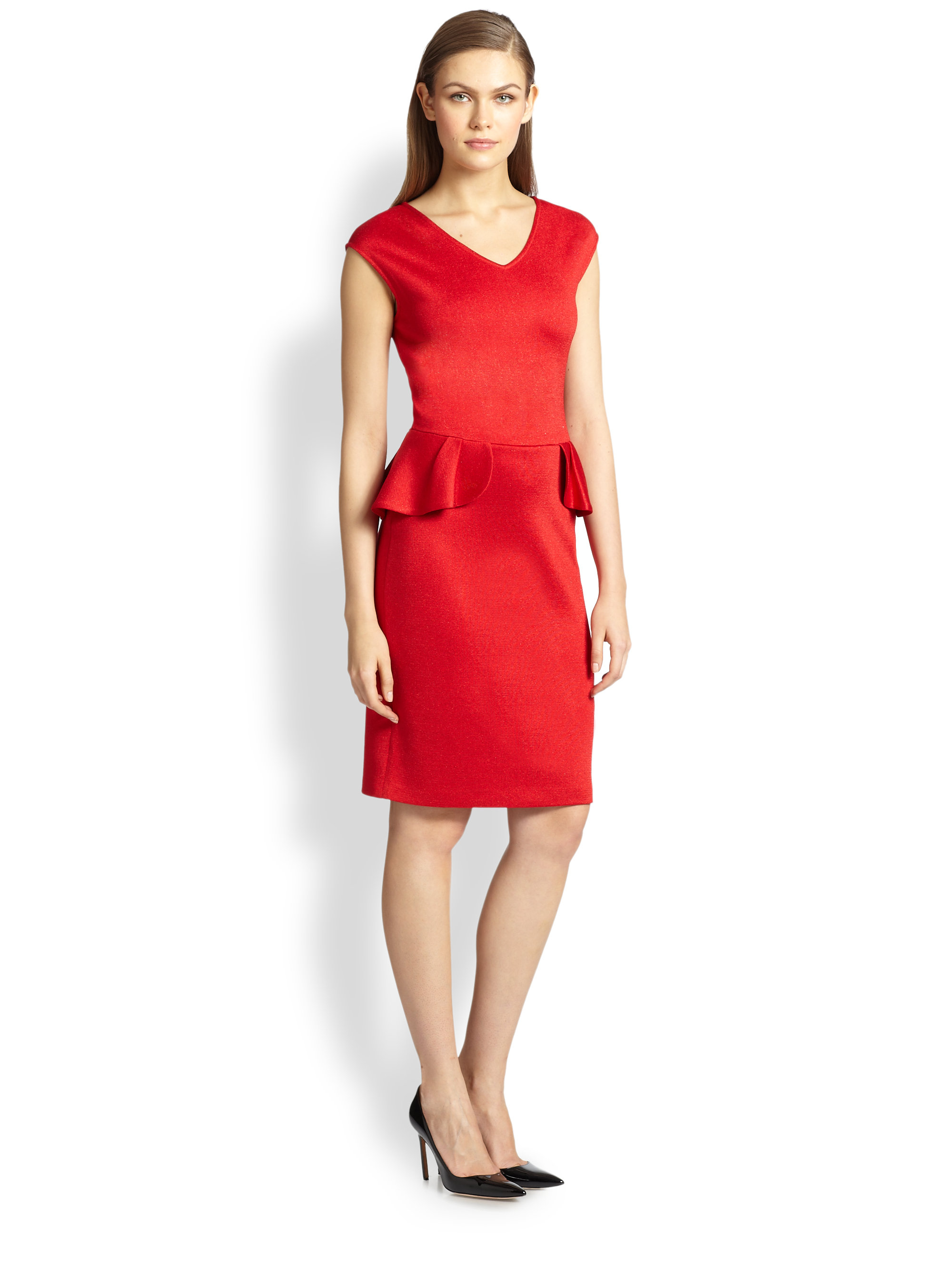 Lyst St John Shimmer Milano Knit Peplum Dress In Red