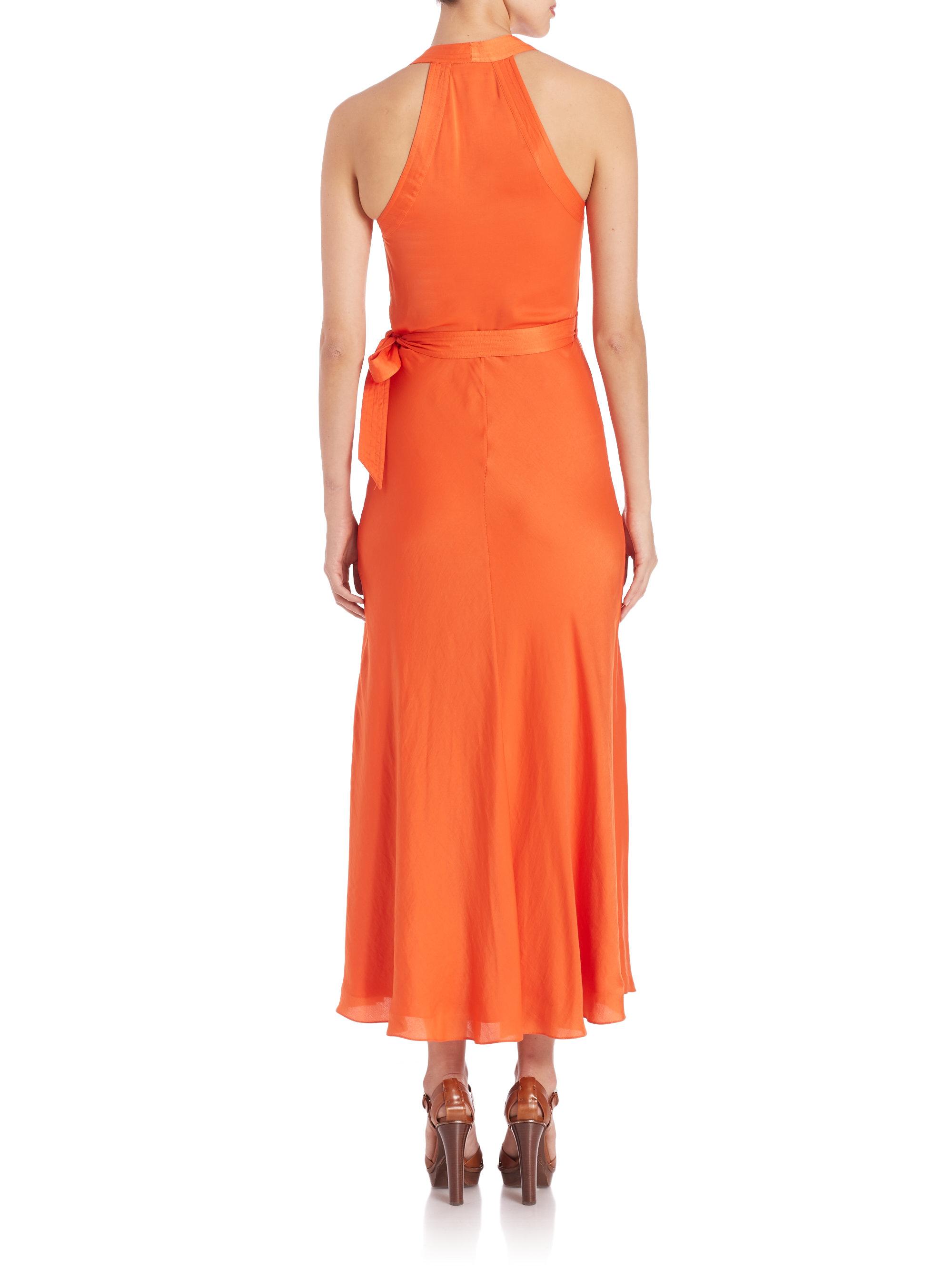 Lyst Polo Ralph Lauren Satin Wrap Dress In Orange