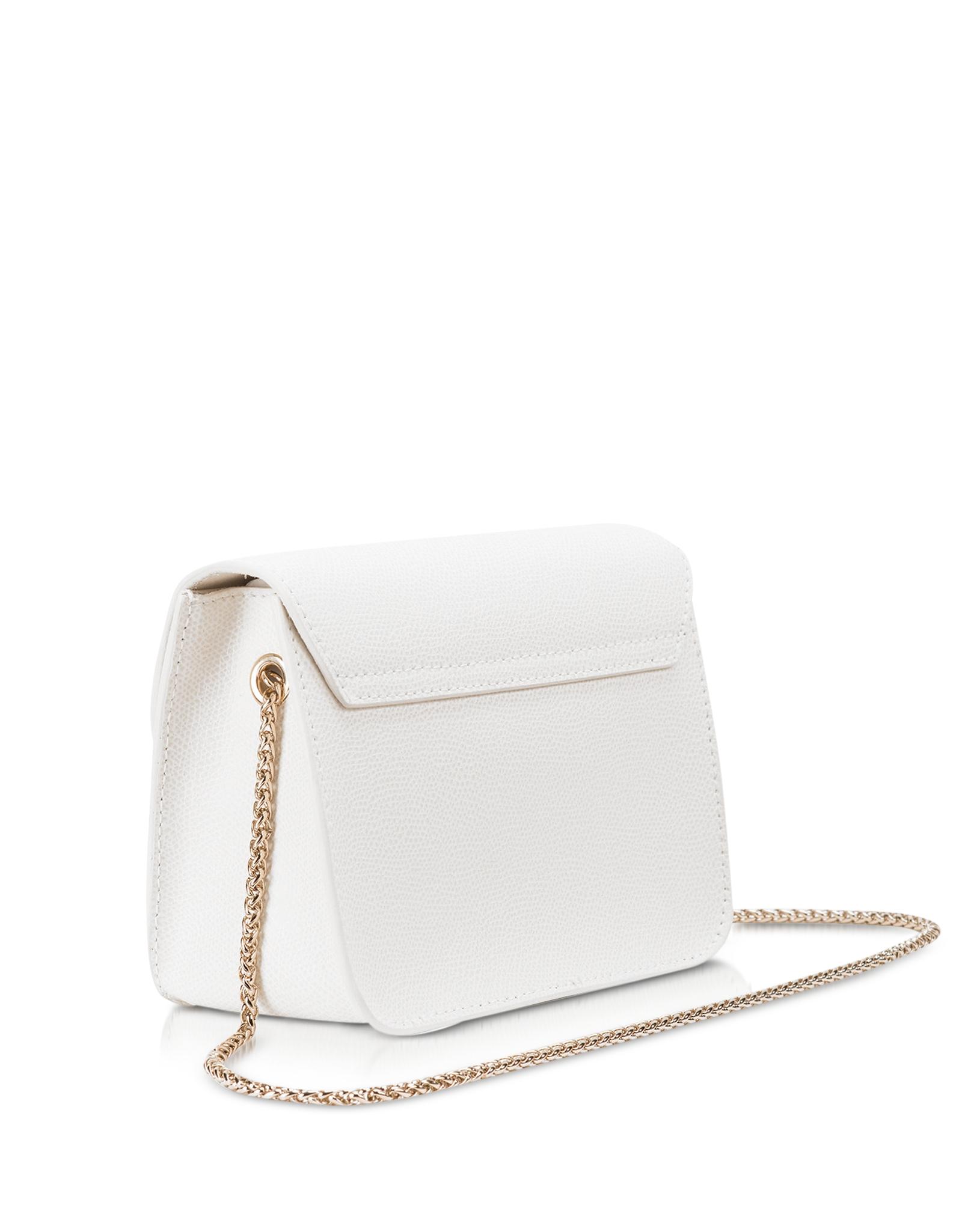 0403e80bd21 Lyst - Furla Metropolis Chalk Leather Mini Crossbody Bag in White