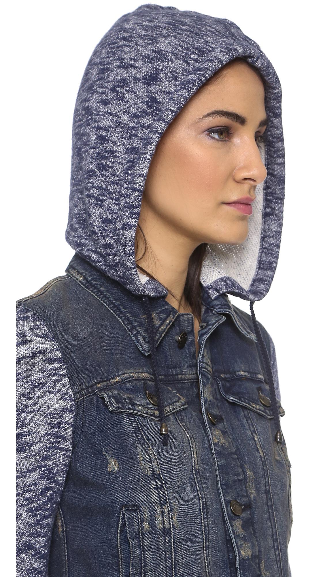 Denim Jacket Knitting Pattern : Free people Denim Knit Jacket - Indigo Rinse in Blue Lyst