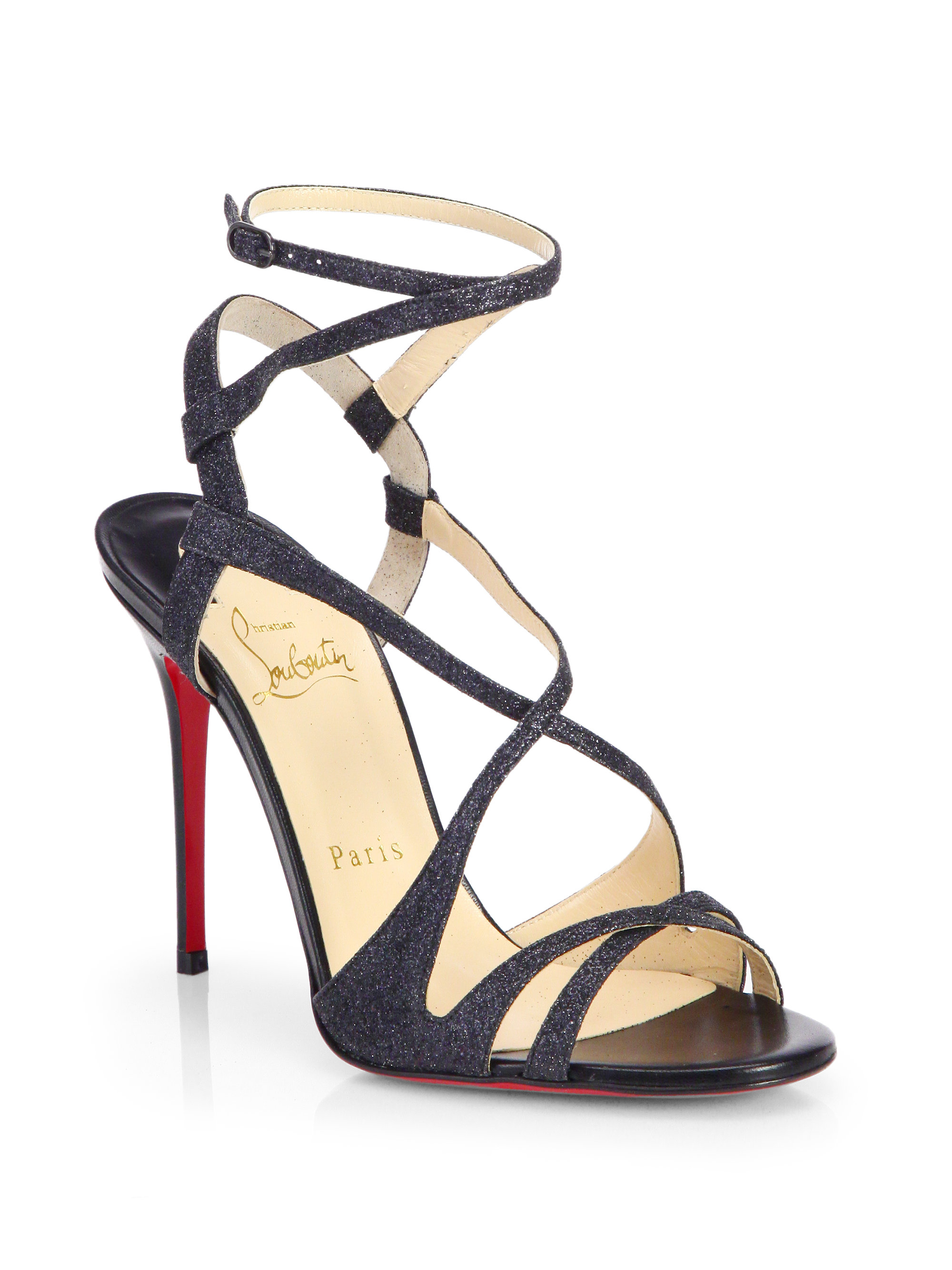 43b2b0431ac Christian Louboutin Black Audrey Glitter Strappy Sandals