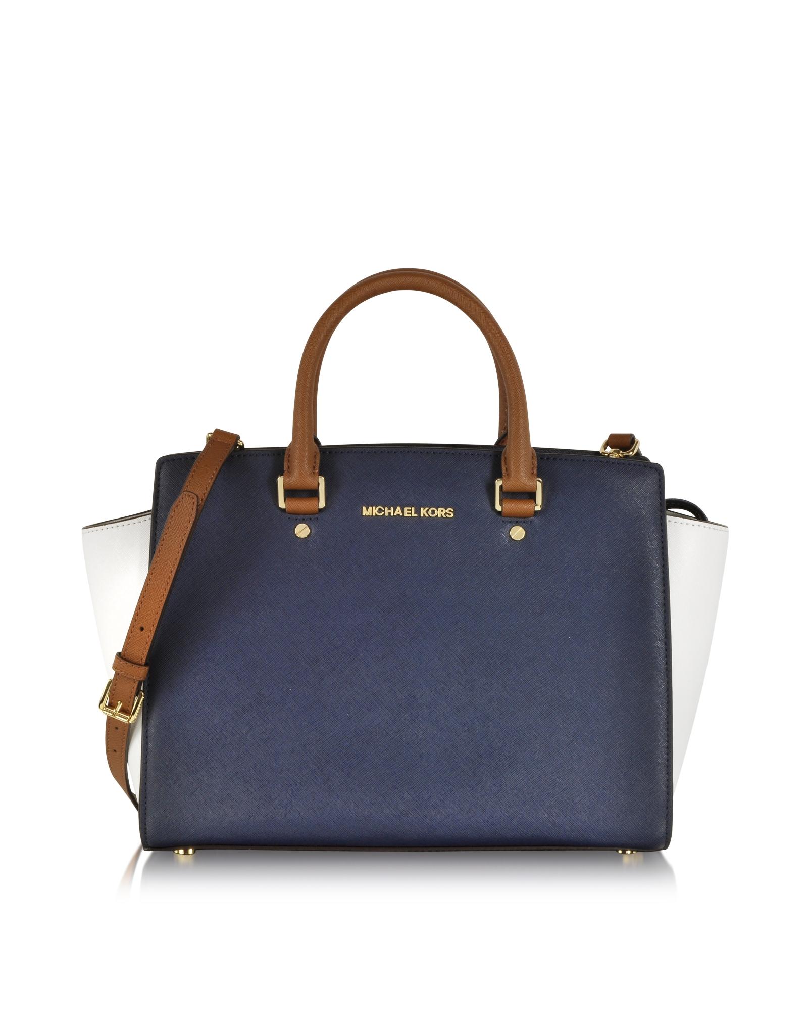 michael kors large selma topzip tricolor satchel in blue. Black Bedroom Furniture Sets. Home Design Ideas