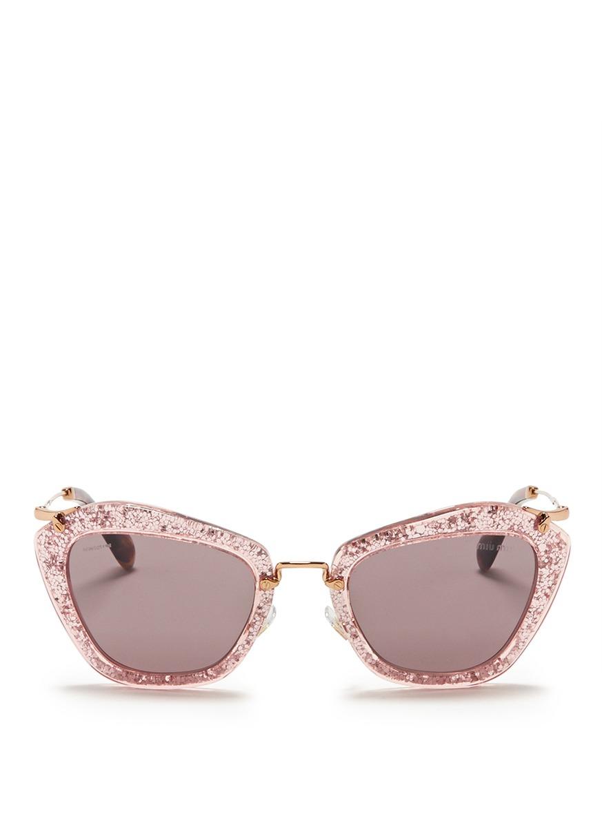 Miu Miu Glitter Cat Eye Sunglasses