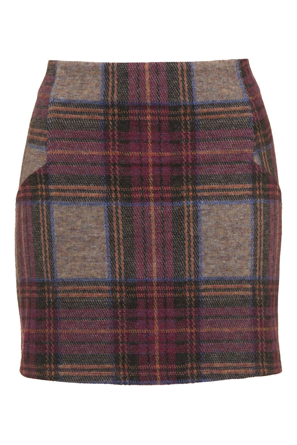 topshop brushed check high waisted mini skirt in pink lyst