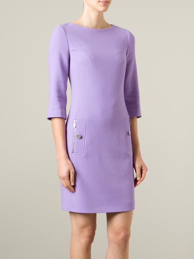Lyst Michael kors Three quarter Sleeve Shift Dress in Purple